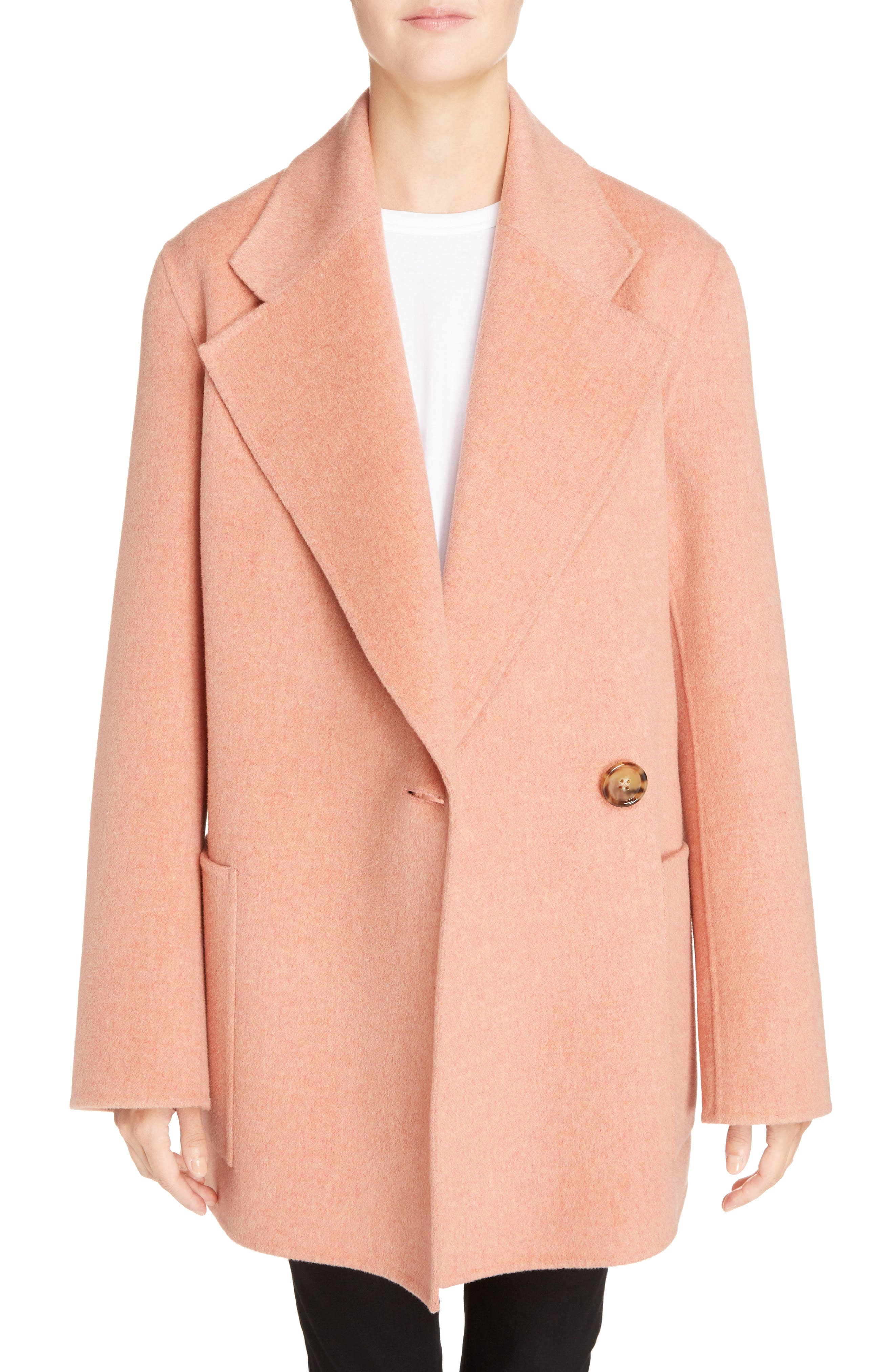 Anika Doublé Wool & Cashmere Coat,                             Main thumbnail 1, color,                             Rose Melange