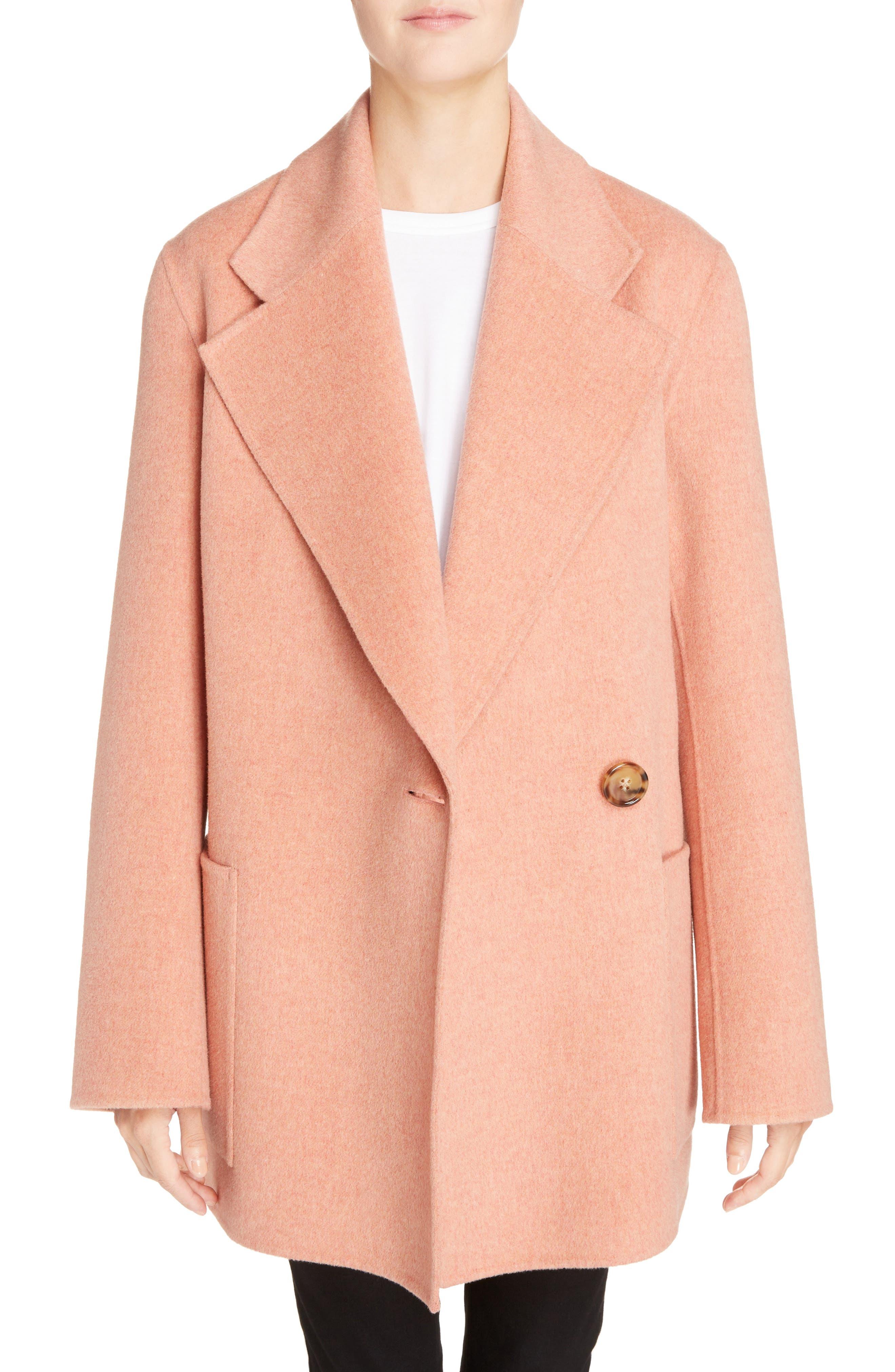 Anika Doublé Wool & Cashmere Coat,                         Main,                         color, Rose Melange