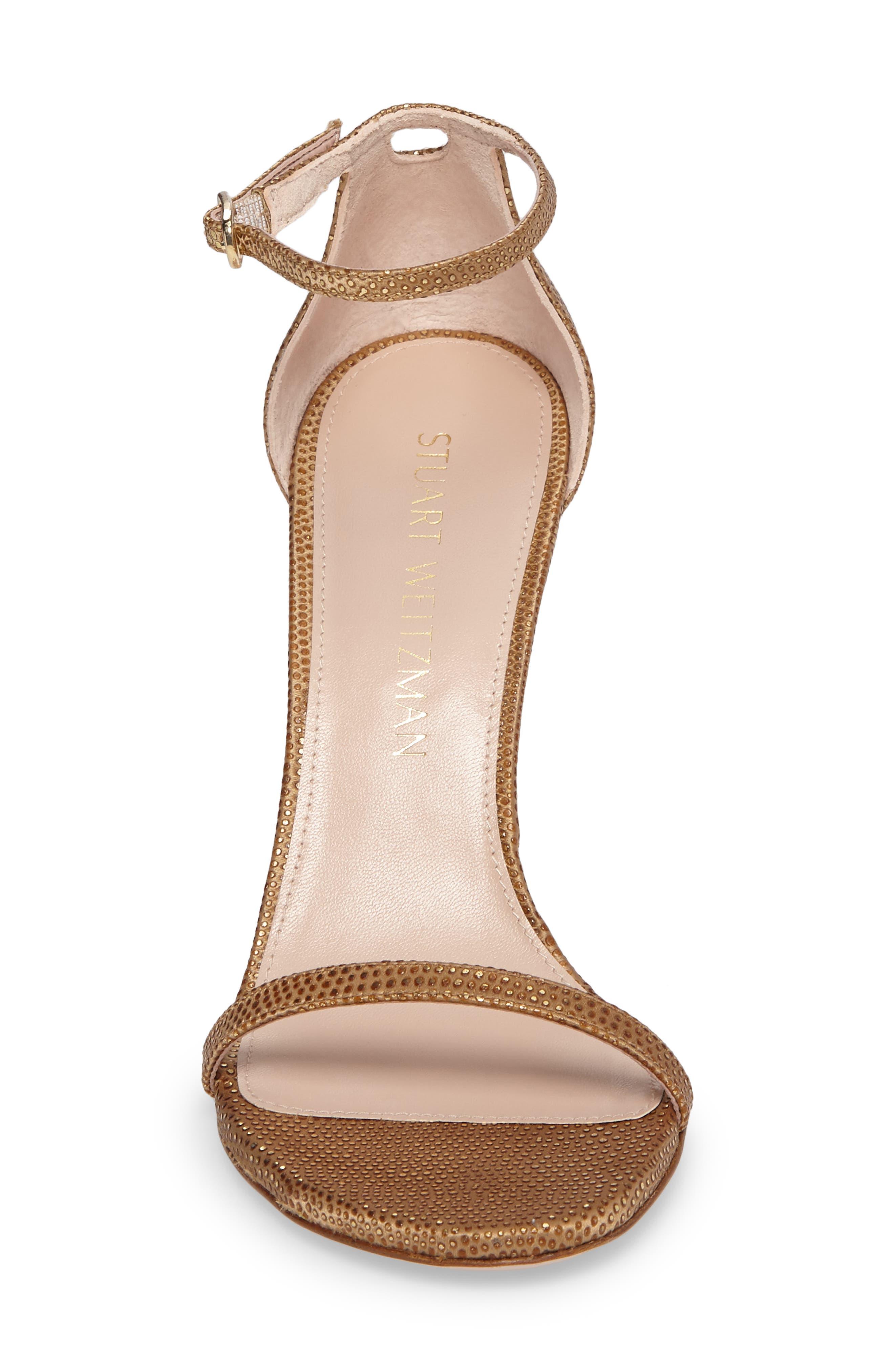 Nudistsong Ankle Strap Sandal,                             Alternate thumbnail 4, color,                             Gold Dot