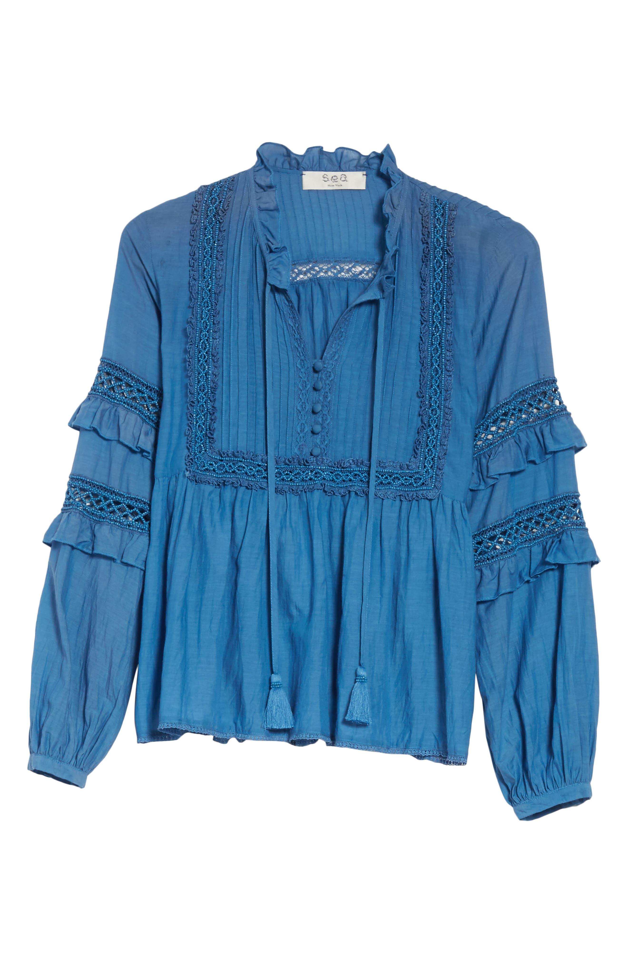 Adaline Ruffle Cotton Blouse,                             Alternate thumbnail 7, color,                             Blue