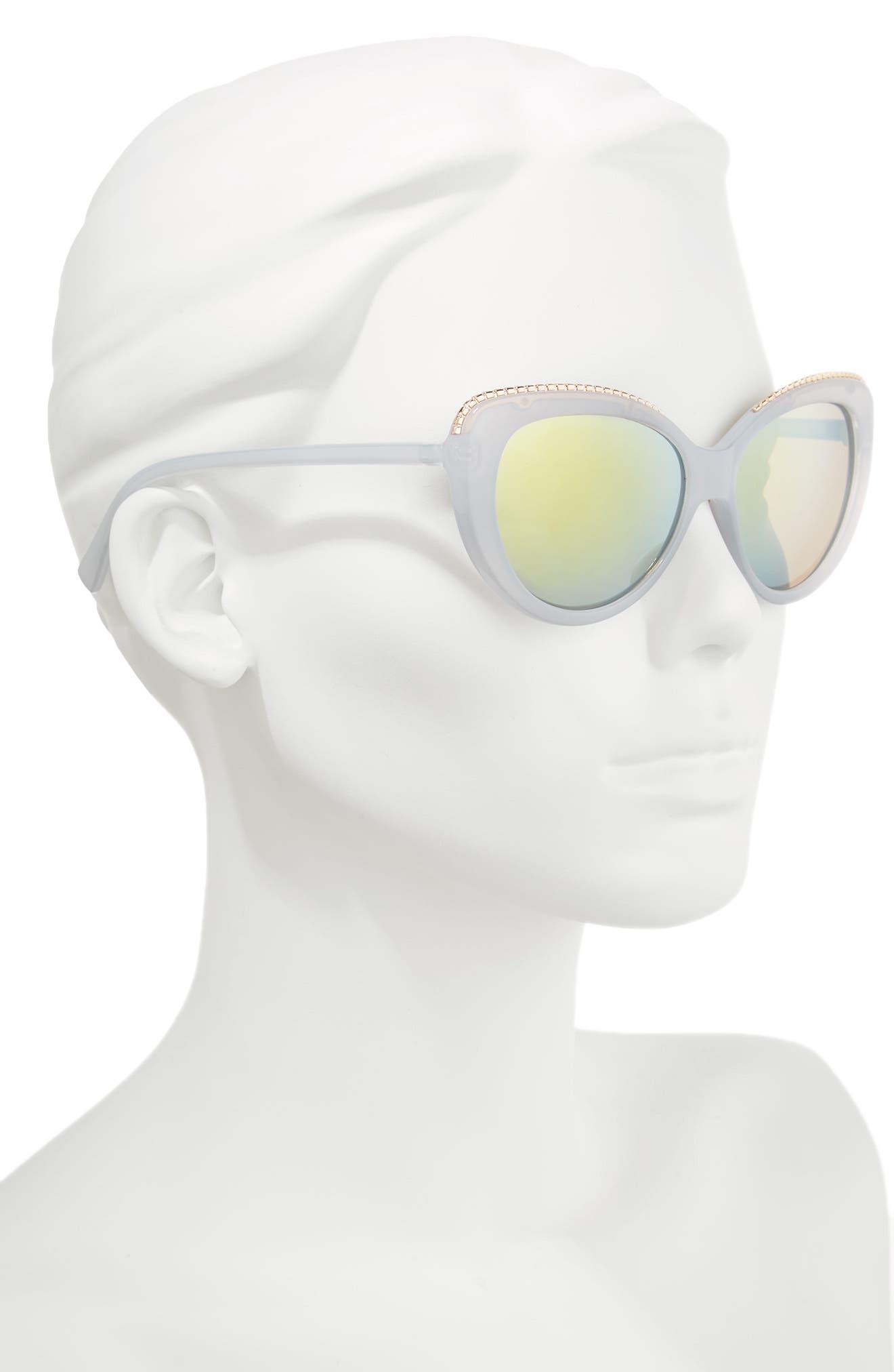 54mm Metal Trim Sunglasses,                             Alternate thumbnail 2, color,                             Blue