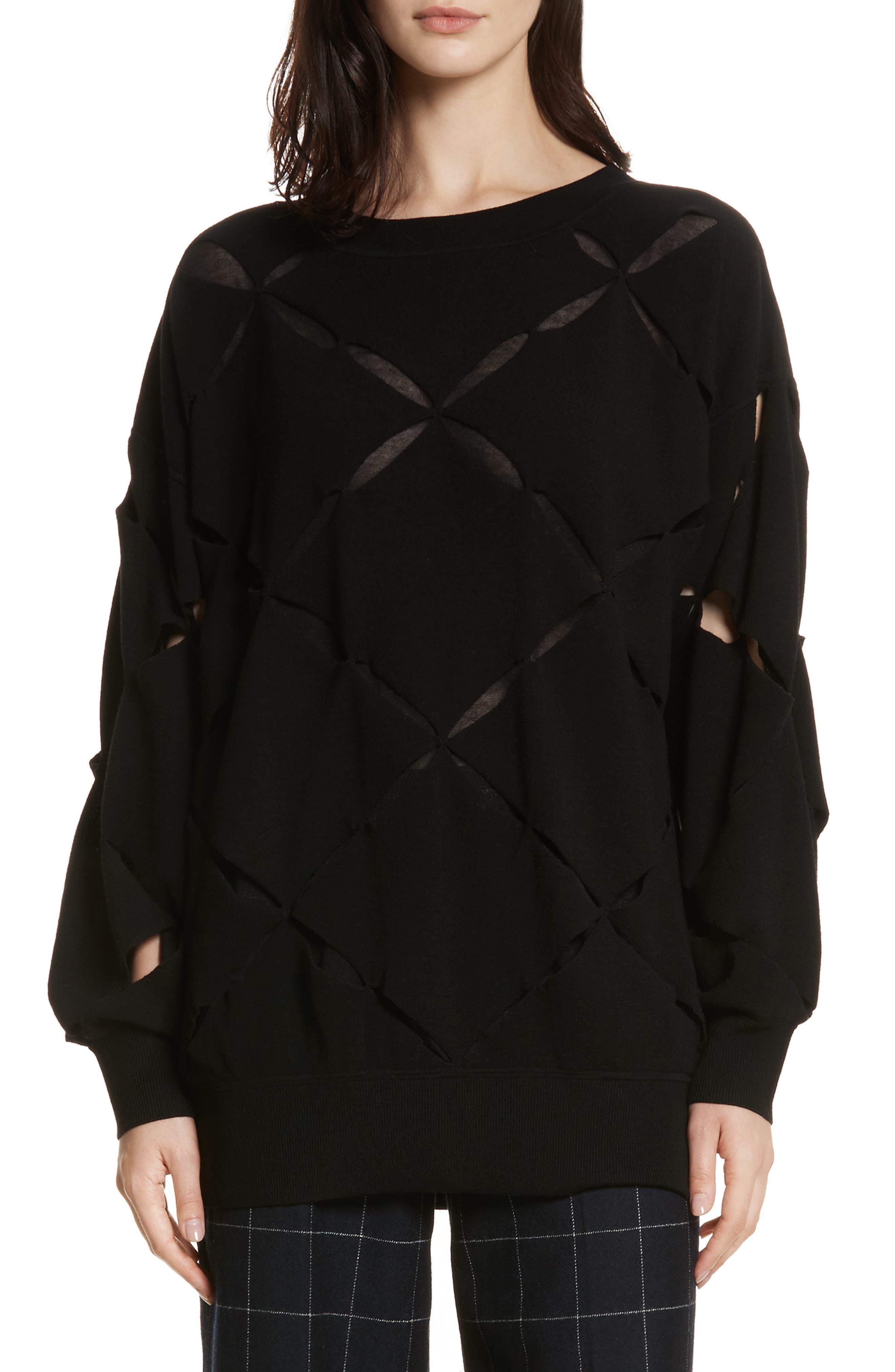Roz Cutout Sweater,                             Main thumbnail 1, color,                             Black