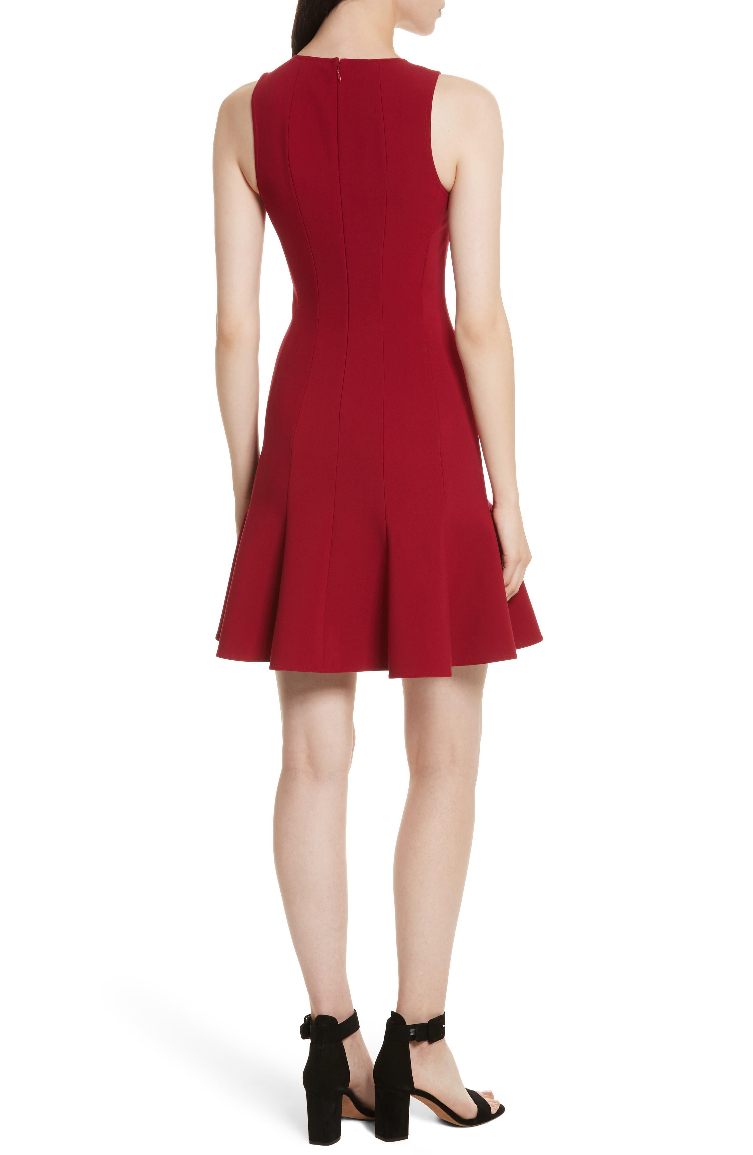 Rooney Flare Hem Dress,                             Alternate thumbnail 2, color,                             Ruby