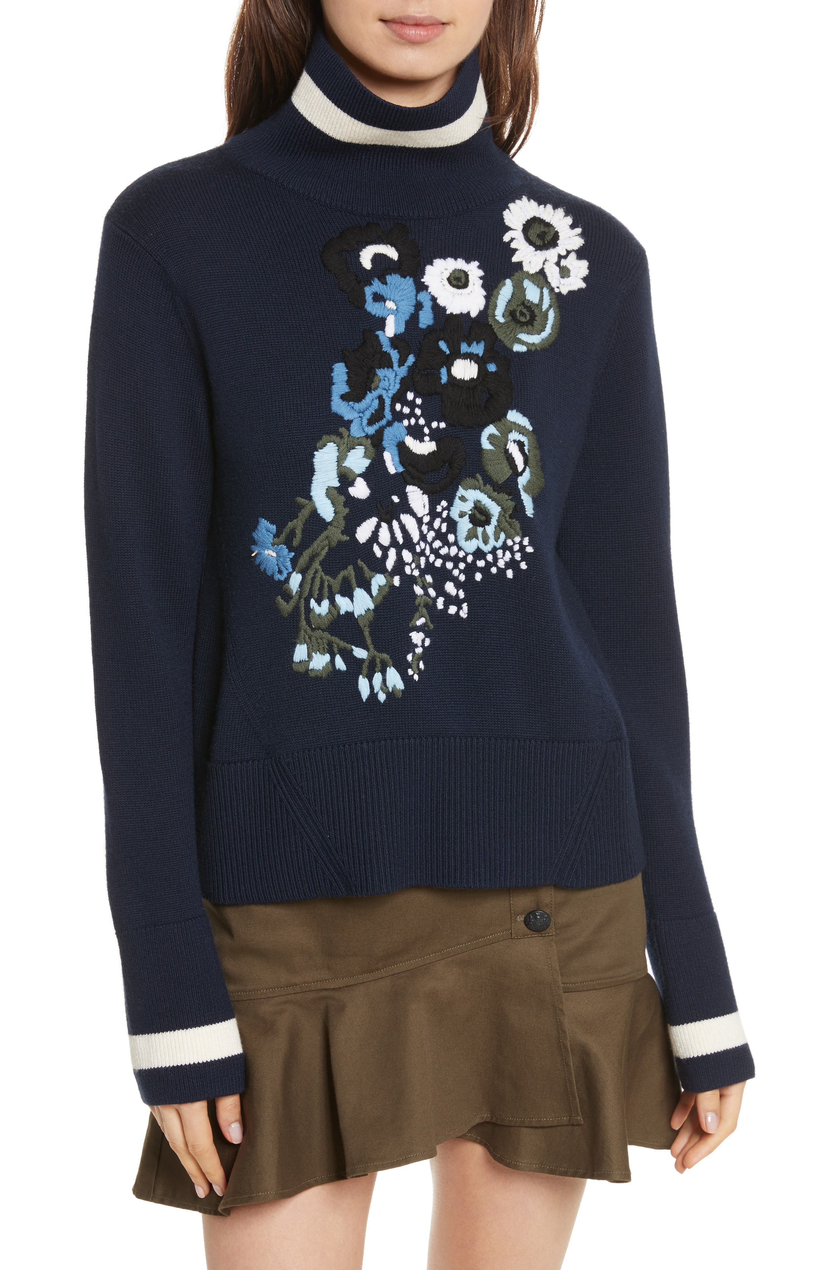Pia Floral Turtleneck Sweater,                         Main,                         color, Navy
