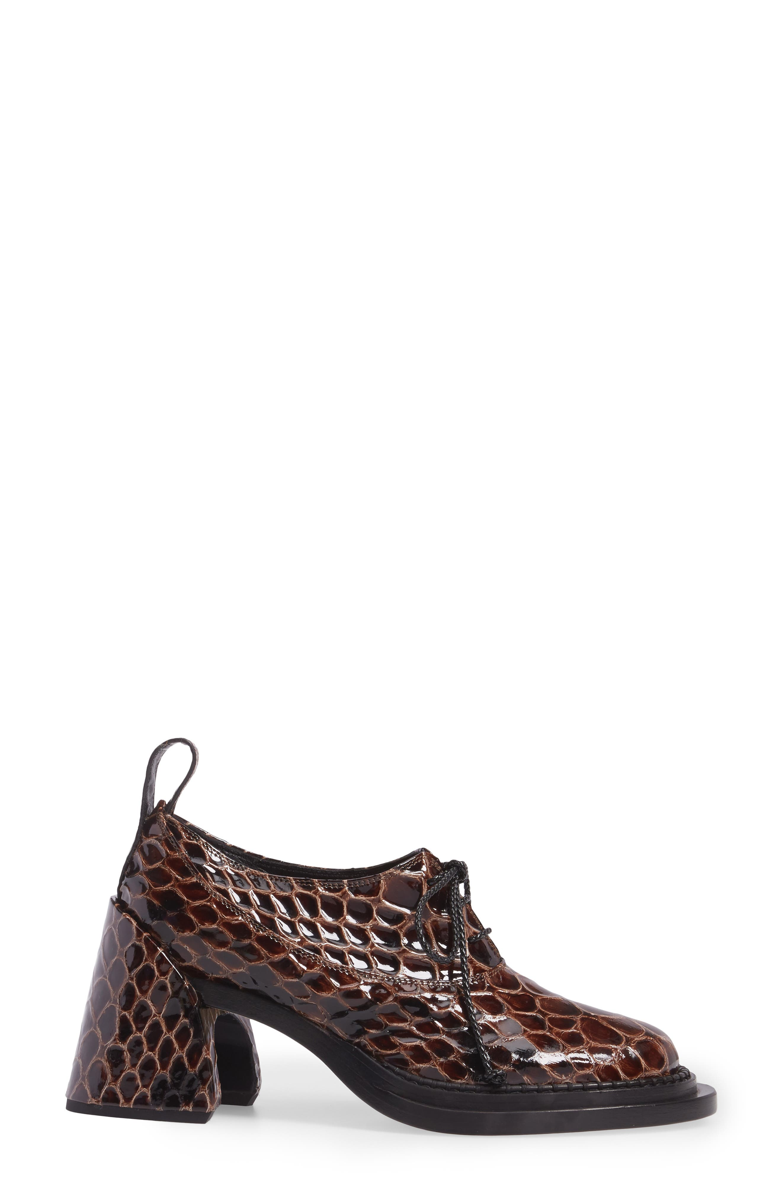 Shell Heel Snake Embossed Leather Oxford,                             Alternate thumbnail 3, color,                             Brown