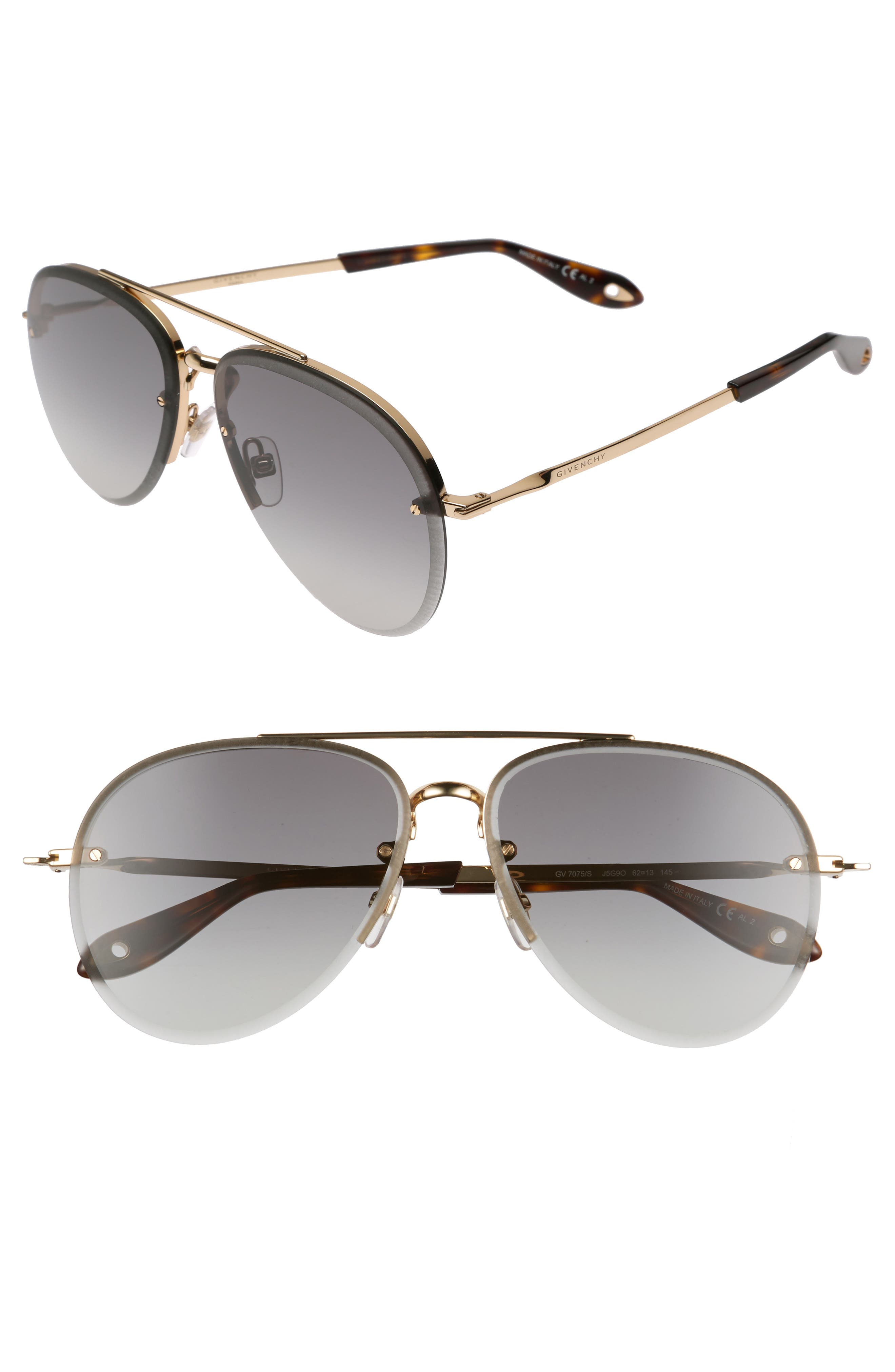 62mm Oversize Aviator Sunglasses,                             Main thumbnail 1, color,                             Gold