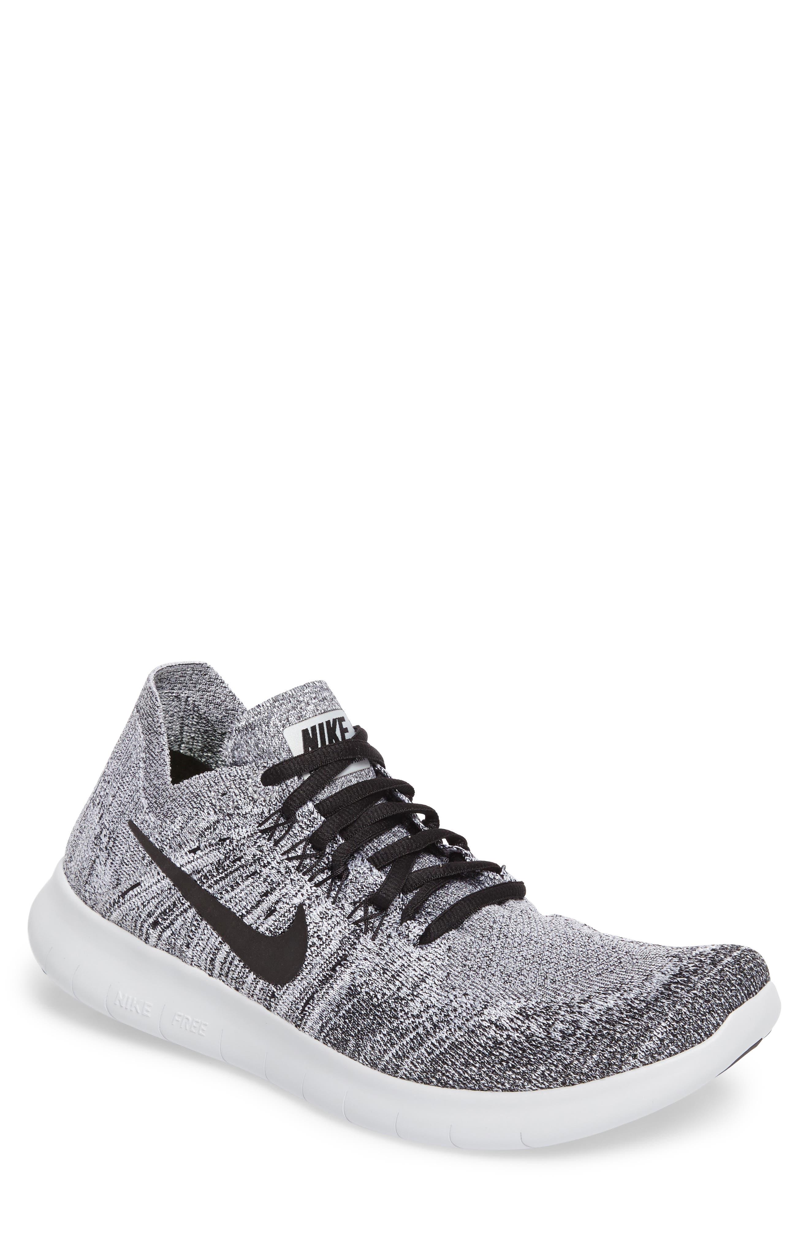 Free Run Flyknit 2017 Running Shoe,                         Main,                         color, White/ Black/Stealth/Platinum