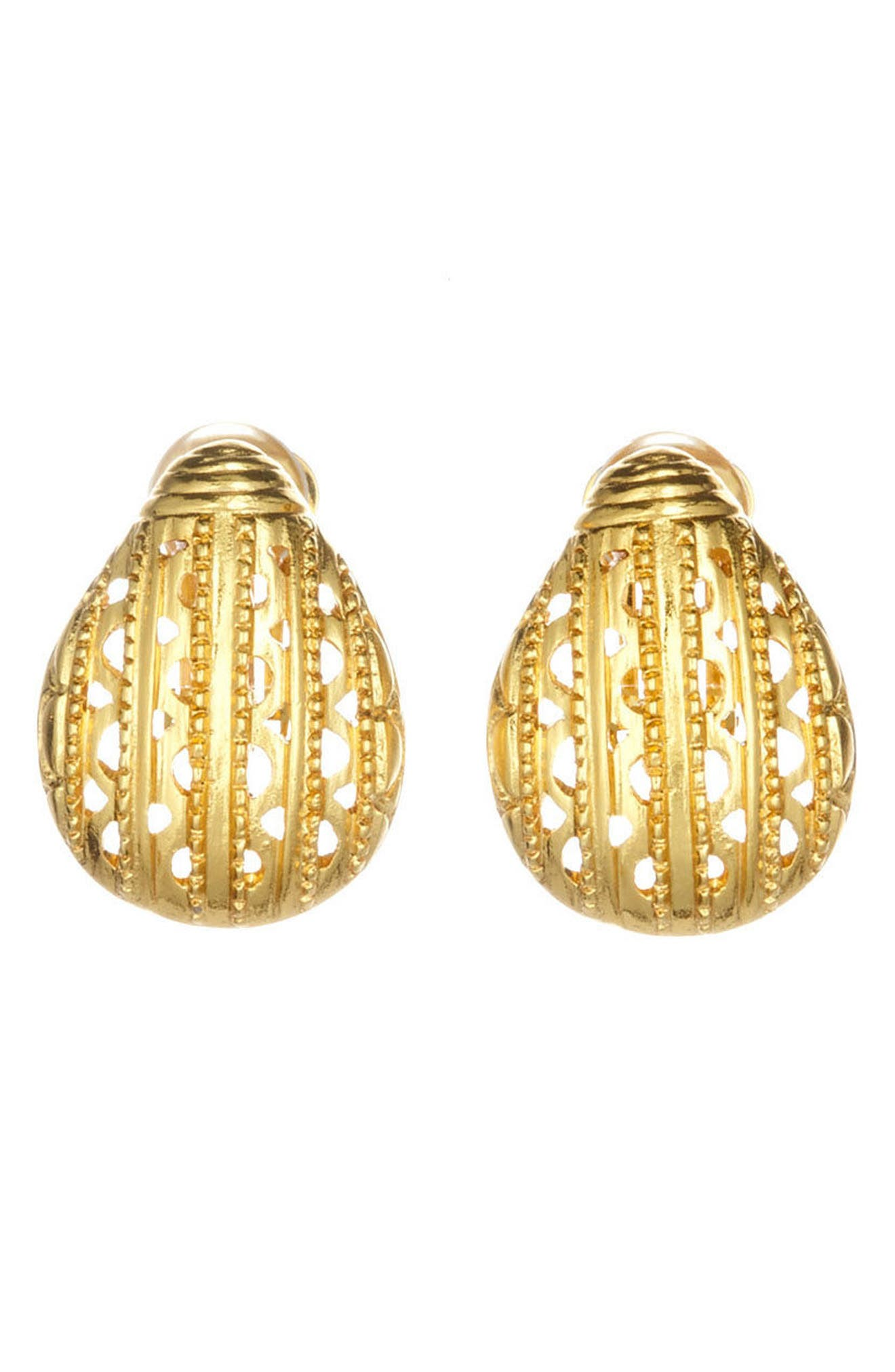 Alternate Image 3  - Oscar de la Renta Scarab Button Clip Earrings