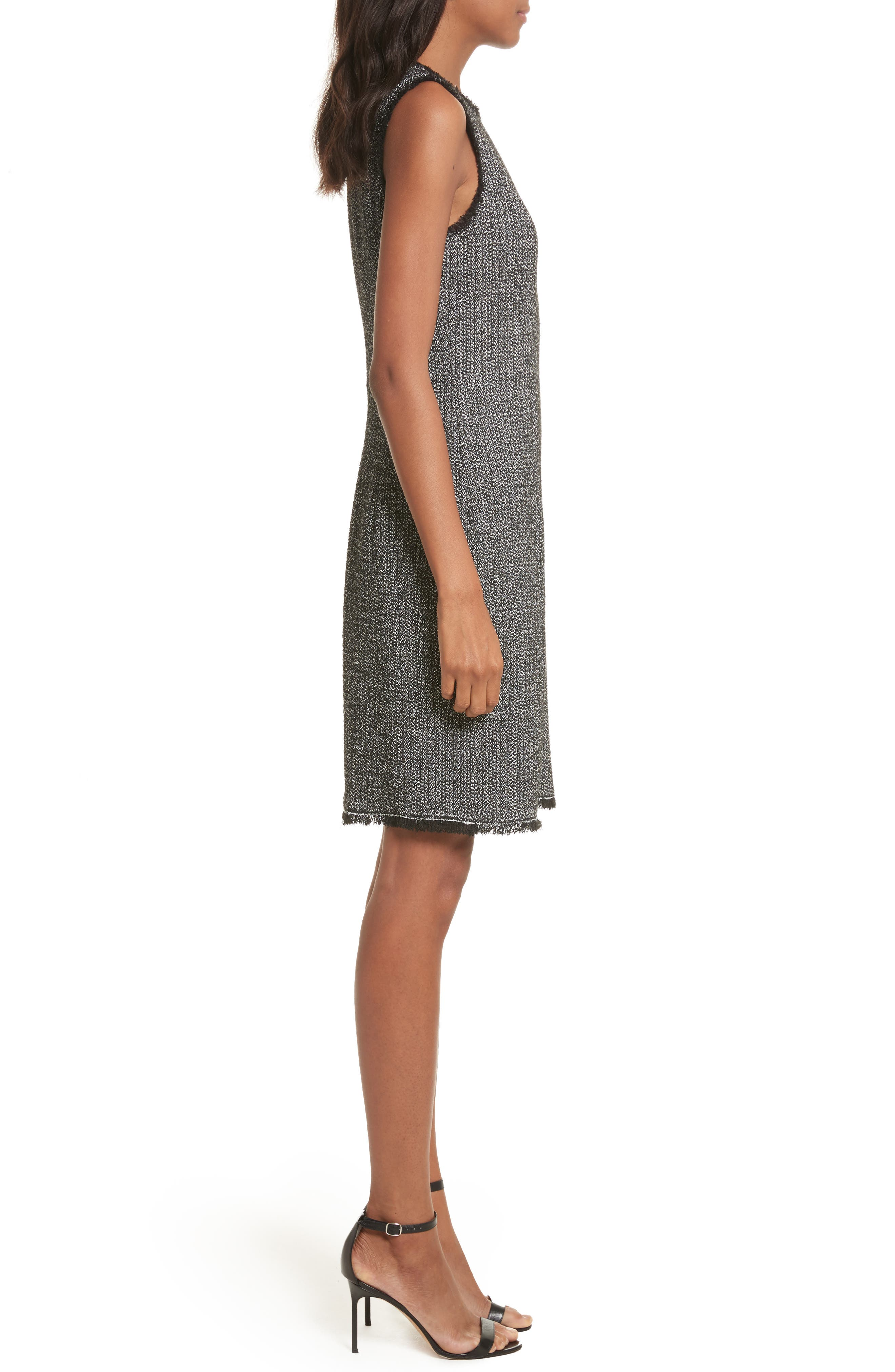 Tweed Sheath Dress,                             Alternate thumbnail 3, color,                             Black Combo