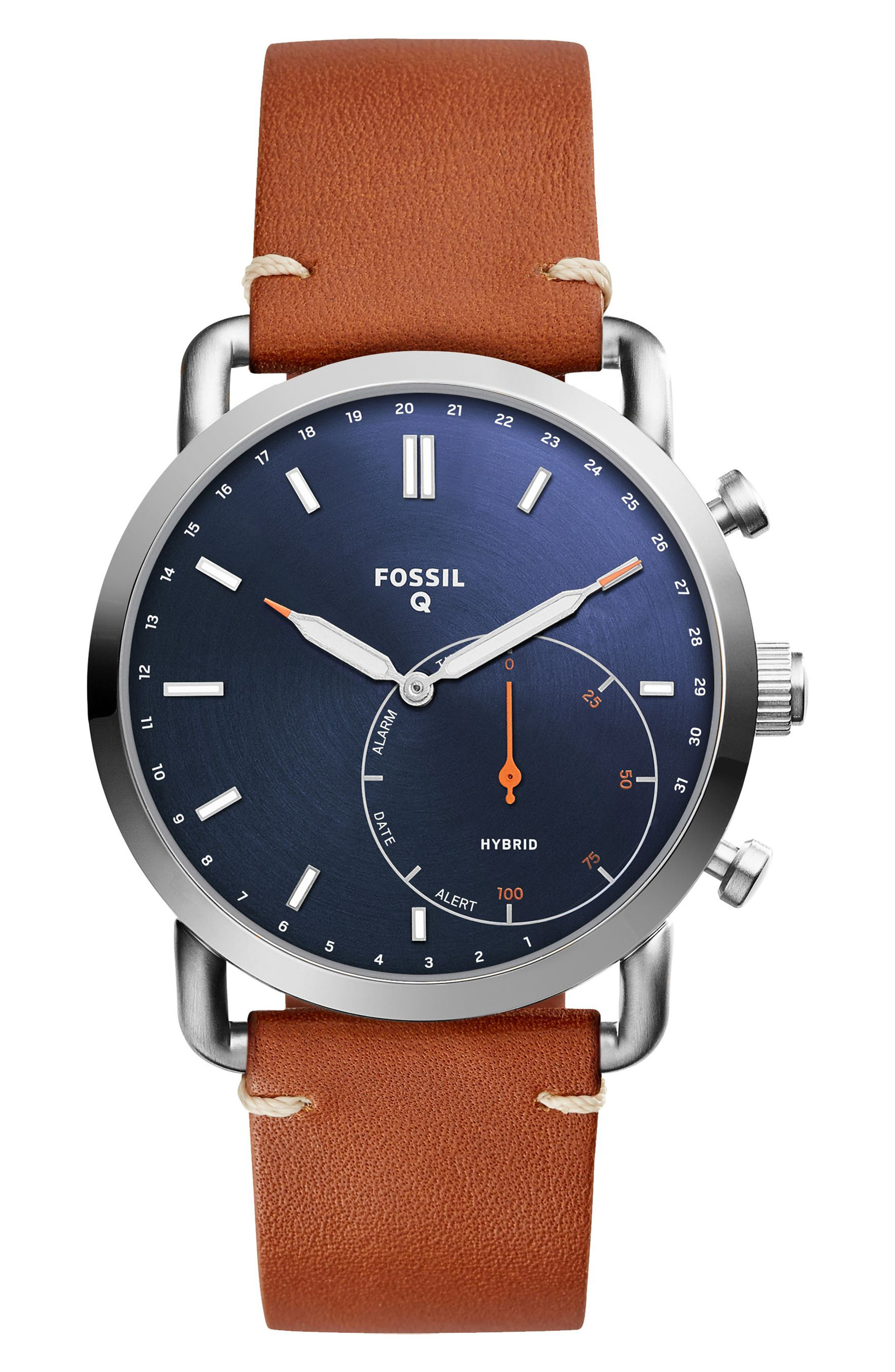 Commuter Leather Strap Hybrid Smart Watch, 42mm,                         Main,                         color, Brown/ Blue/ Silver