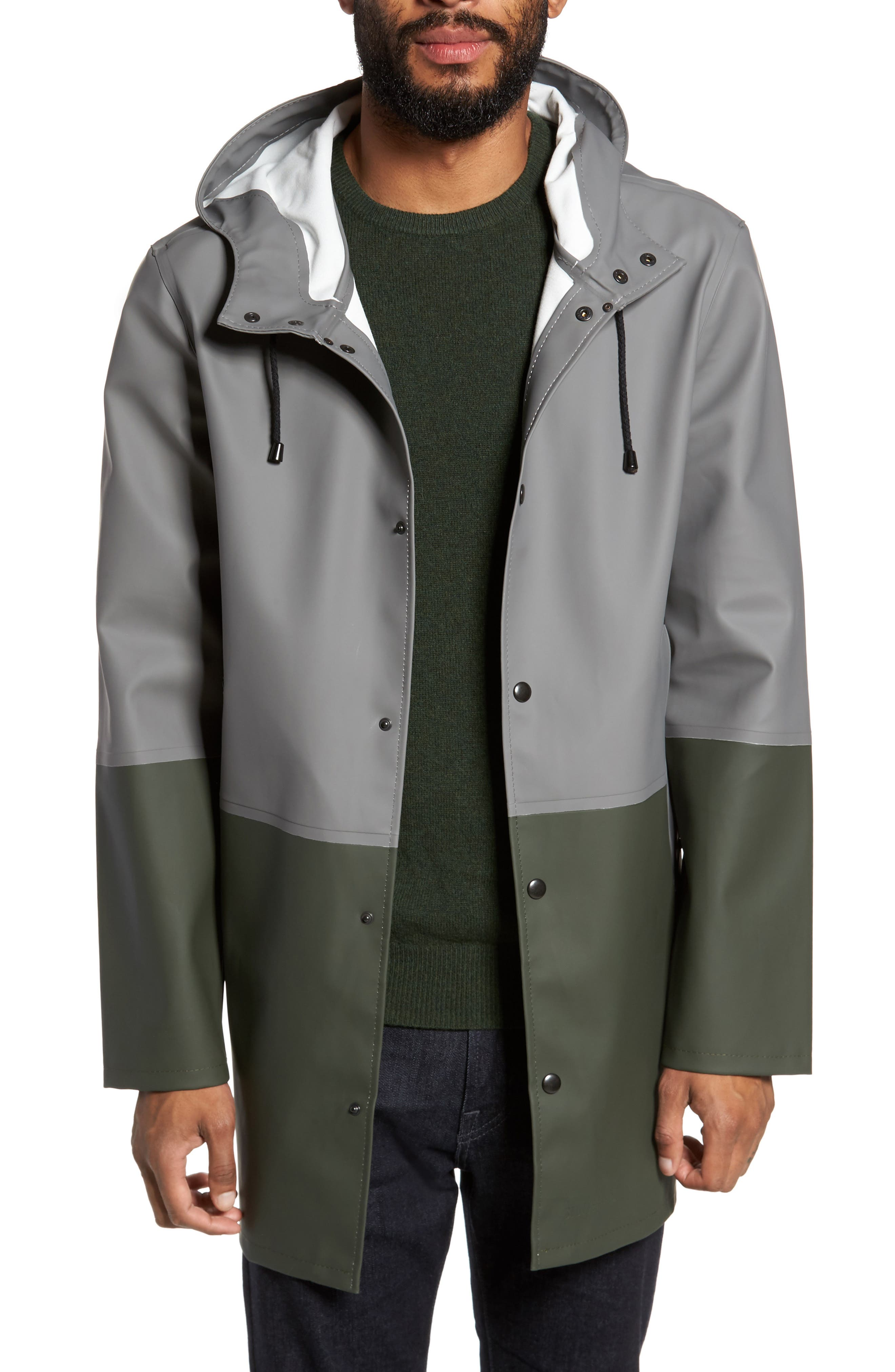 Stockholm Colorblock Waterproof Hooded Raincoat,                             Main thumbnail 1, color,                             Grey/ Green