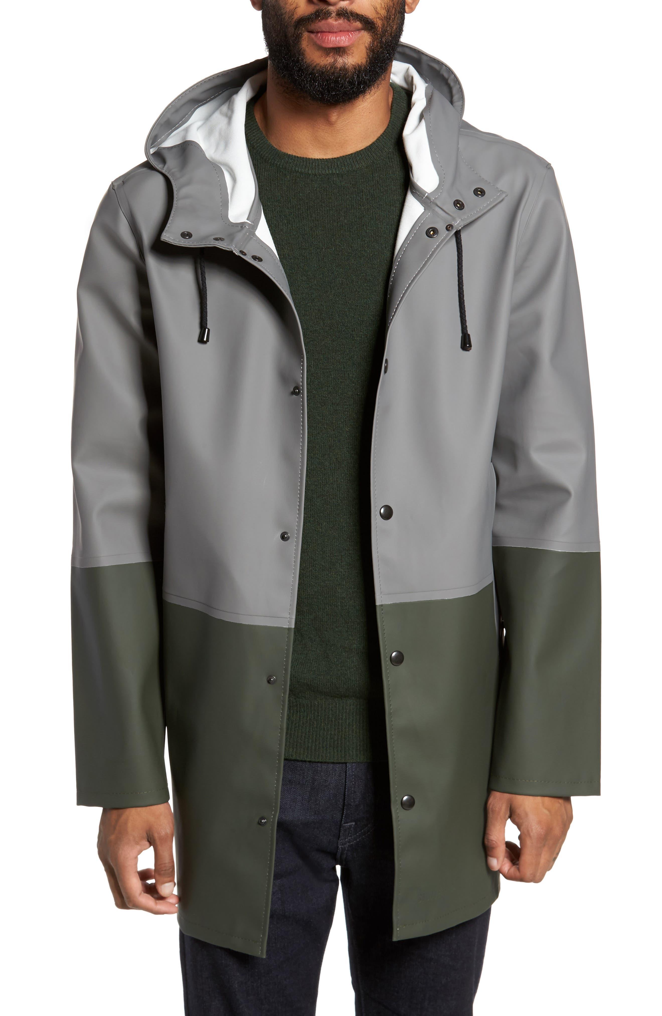 Stockholm Colorblock Waterproof Hooded Raincoat,                         Main,                         color, Grey/ Green