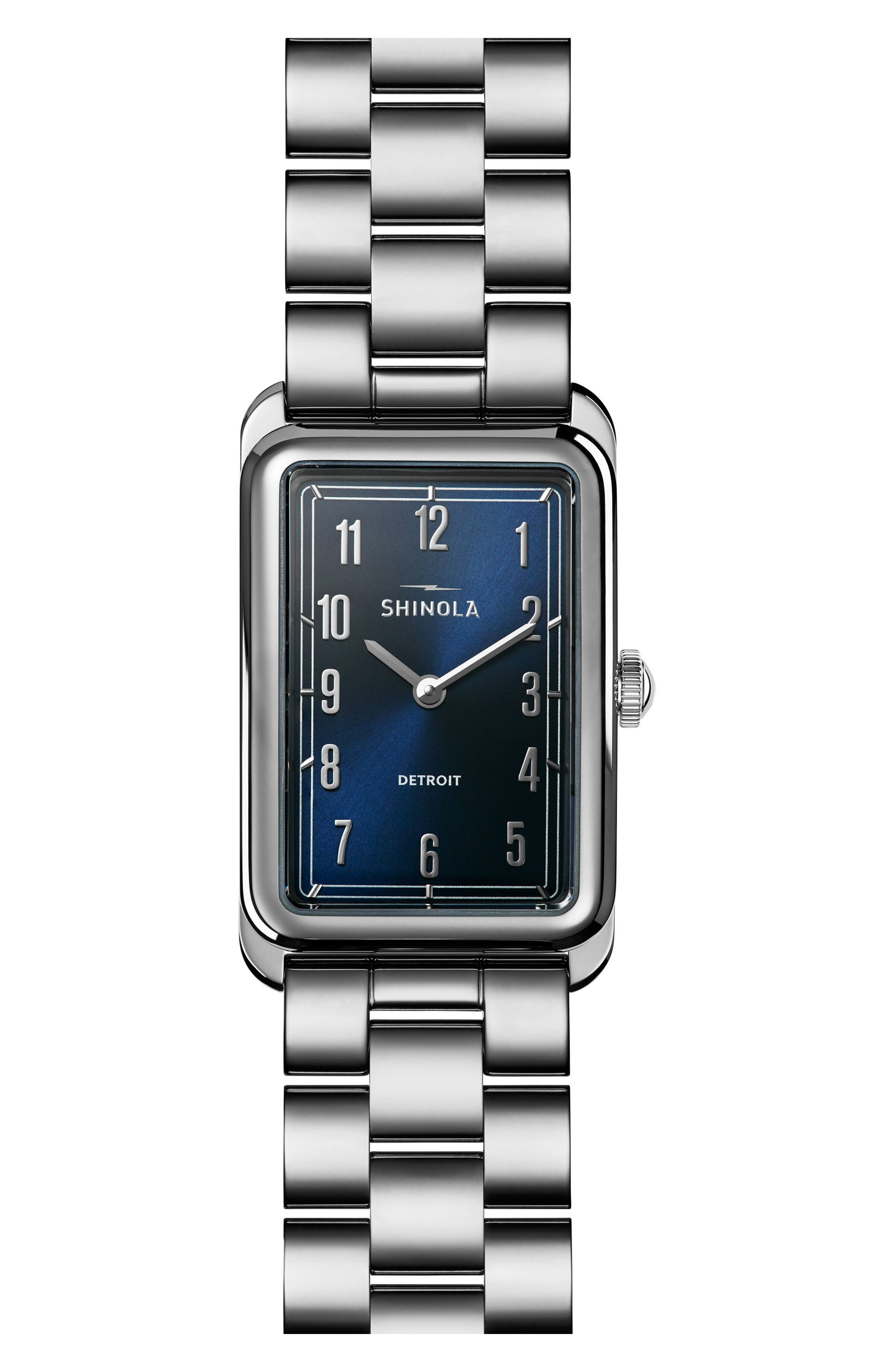 The Muldowney Rectangular Bracelet Watch, 24mm x 32mm,                         Main,                         color, Silver/ Blue/ Silver