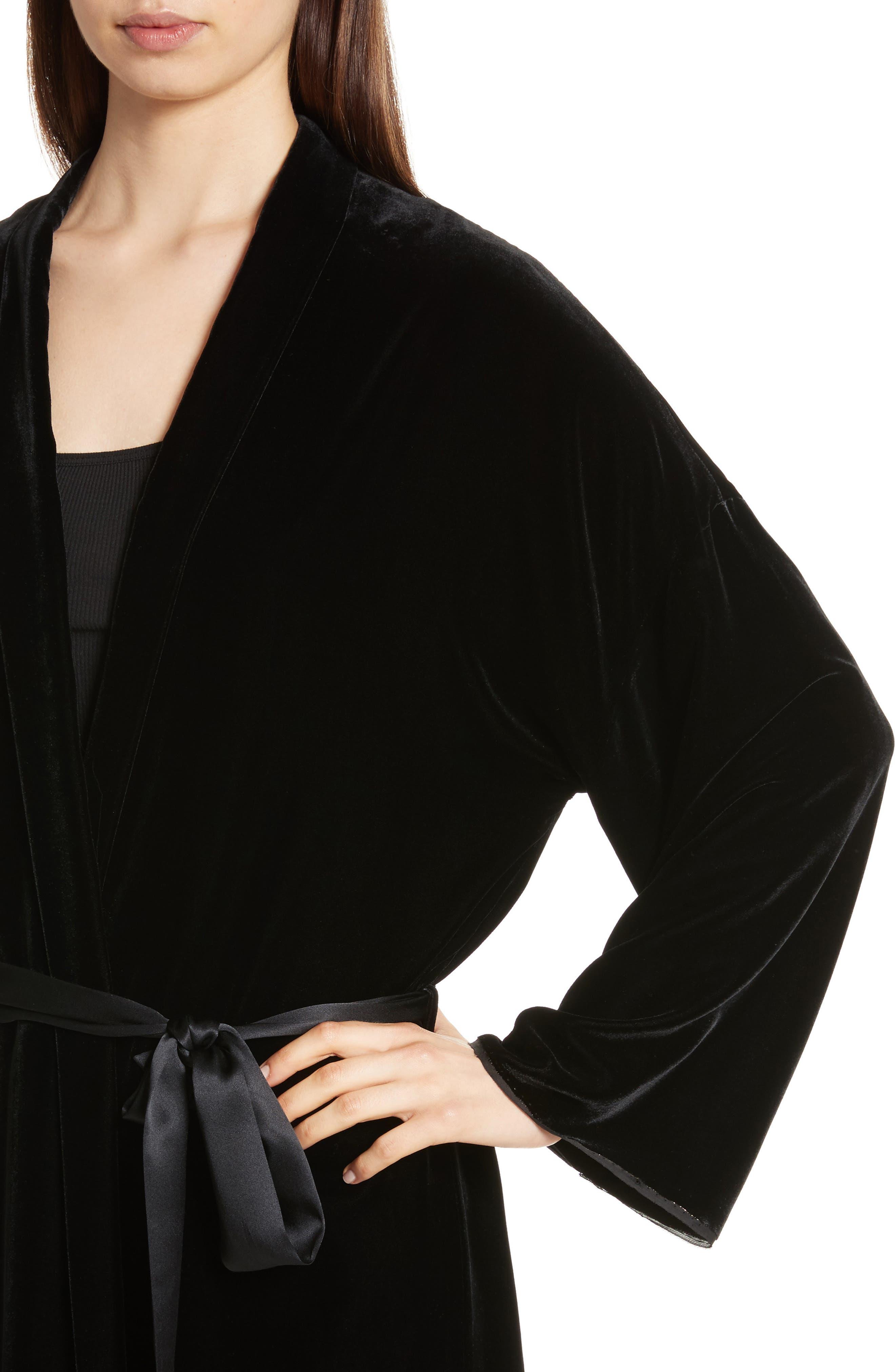 Muna Velvet Kimono,                             Alternate thumbnail 5, color,                             Black