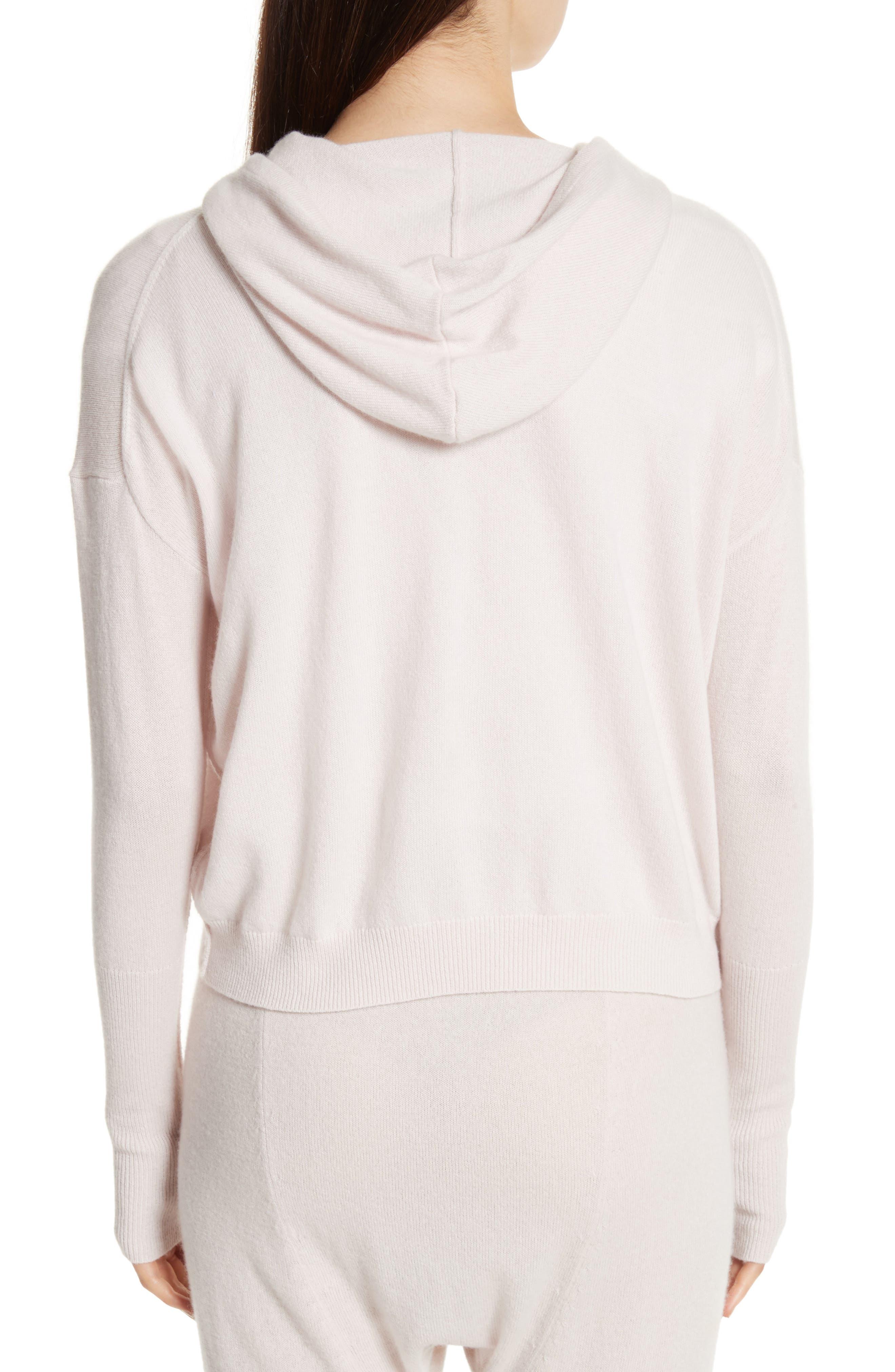 Elisha Cashmere Zip Front Hoodie,                             Alternate thumbnail 3, color,                             Blush