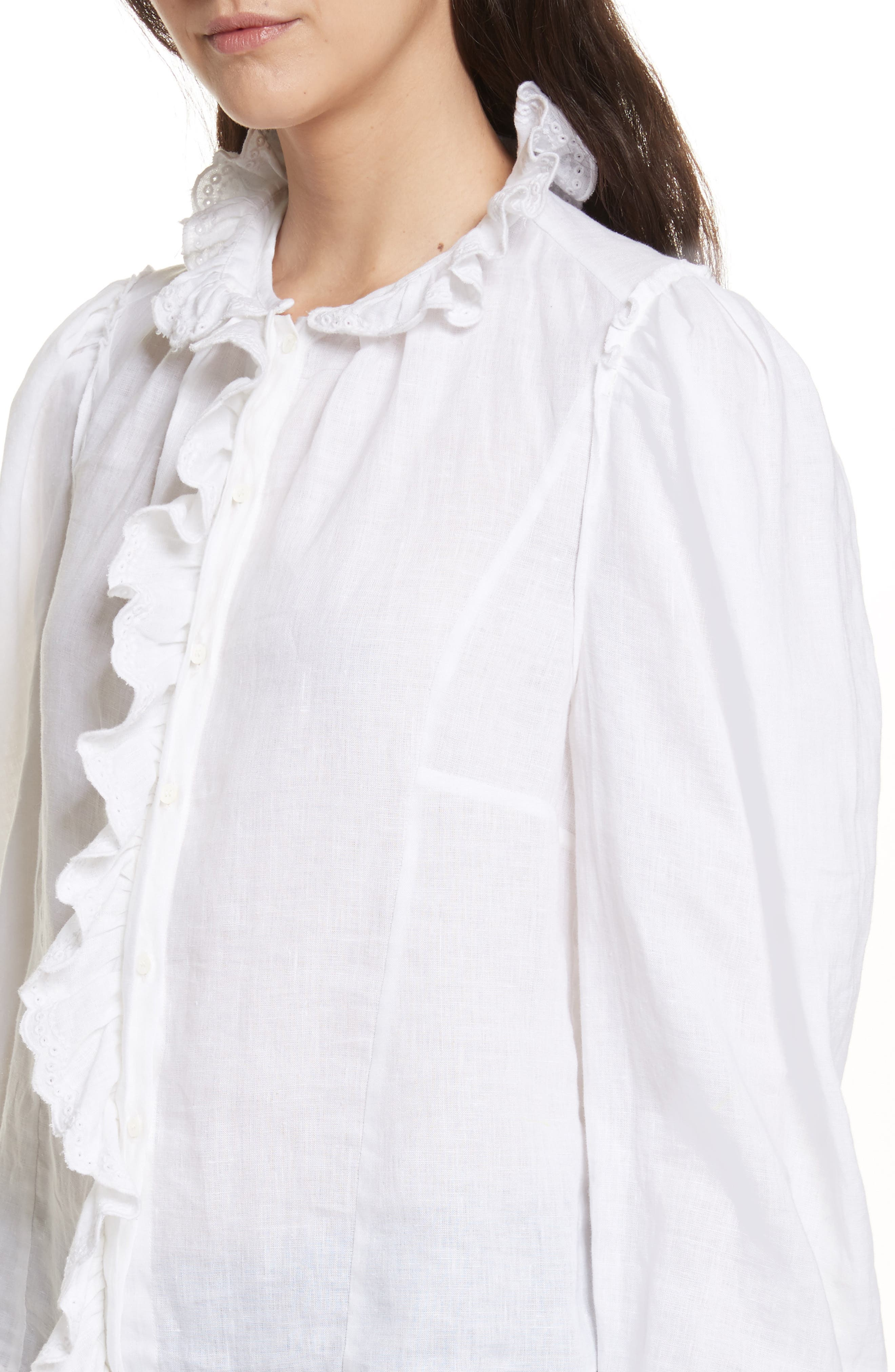 Isabel Marant Étoile Tauren Broderie Linen Shirt,                             Alternate thumbnail 4, color,                             White