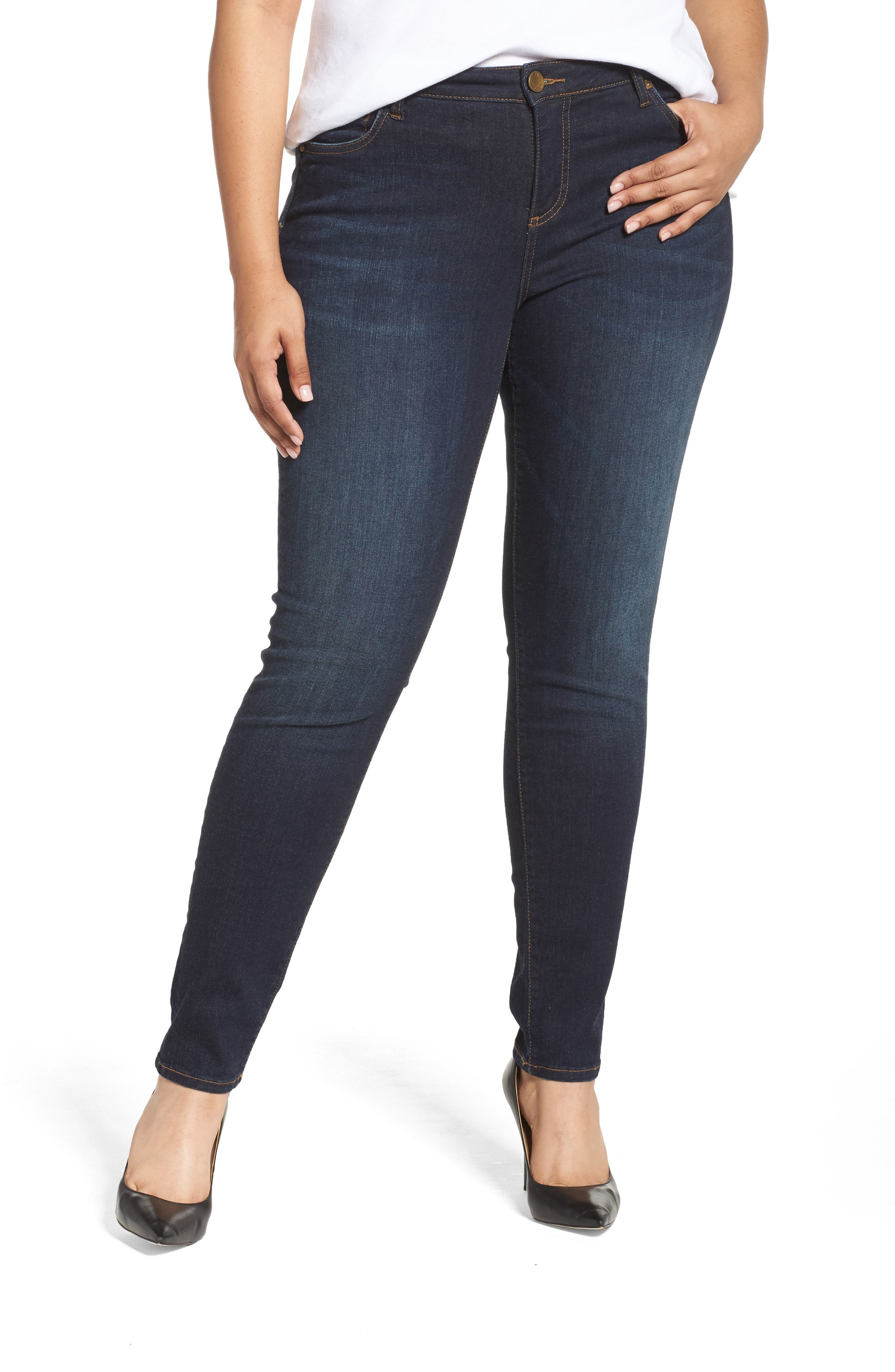 Alternate Image 1 Selected - KUT from the Kloth Diana Skinny Jeans (Blinding) (Plus Size)