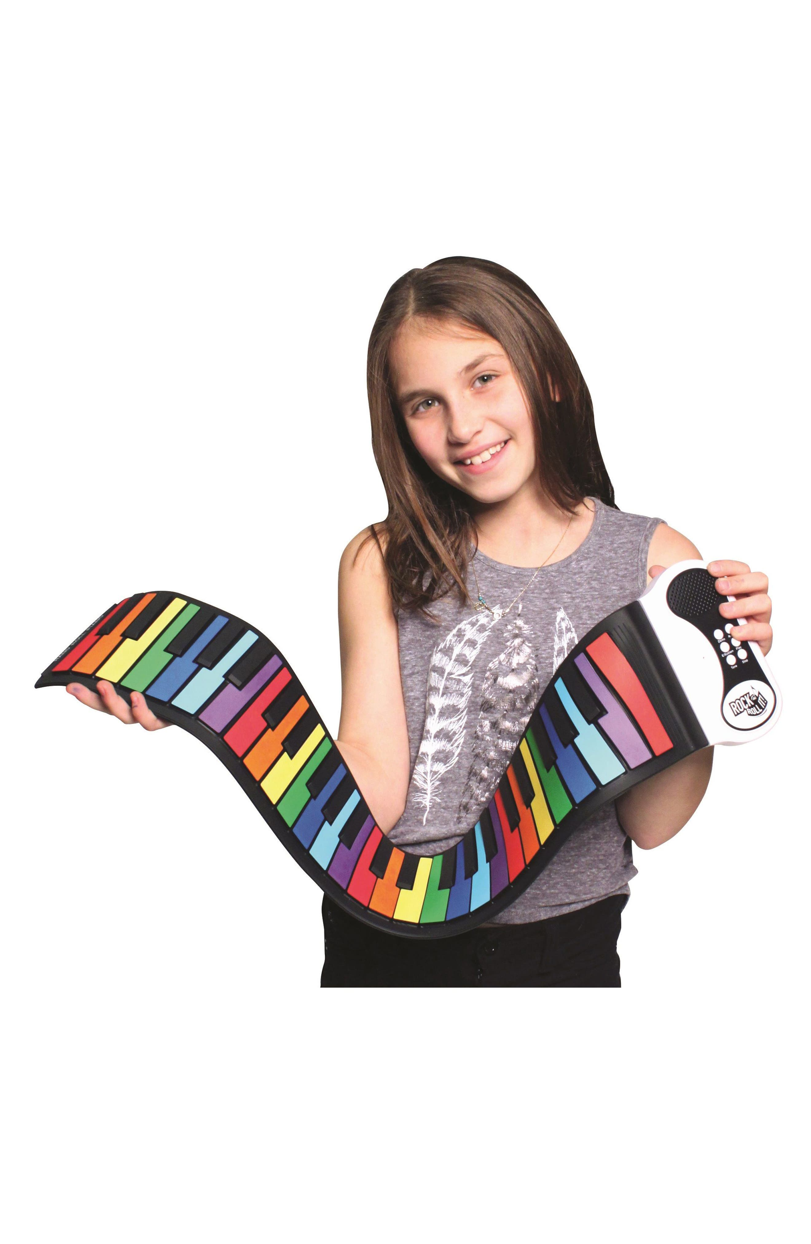 Rock & Roll It Flexible Roll-Up Piano,                             Alternate thumbnail 3, color,                             Rainbow