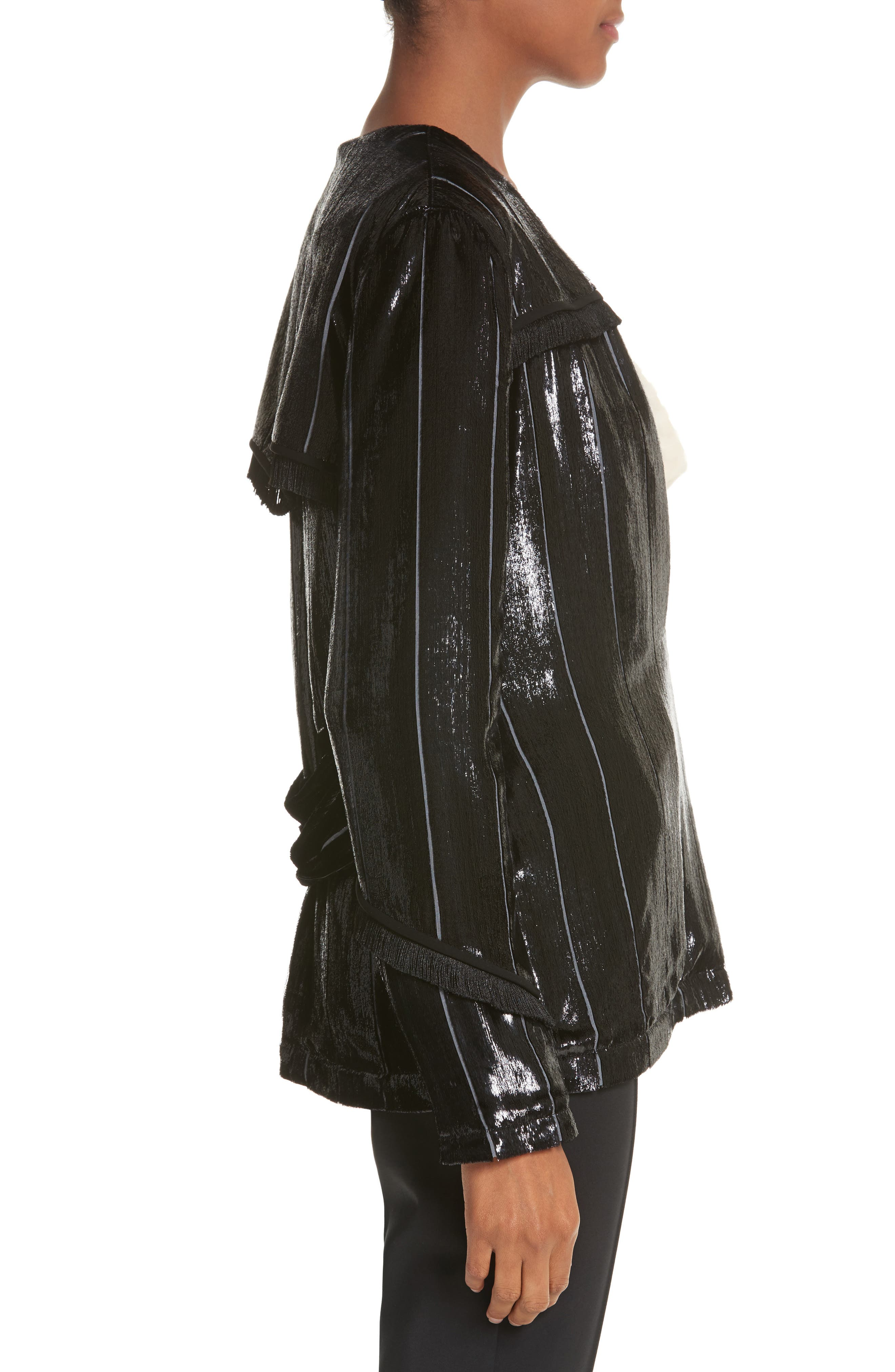 Alternate Image 3  - Yigal Azrouël Fringe Trim Liquid Velvet Blazer
