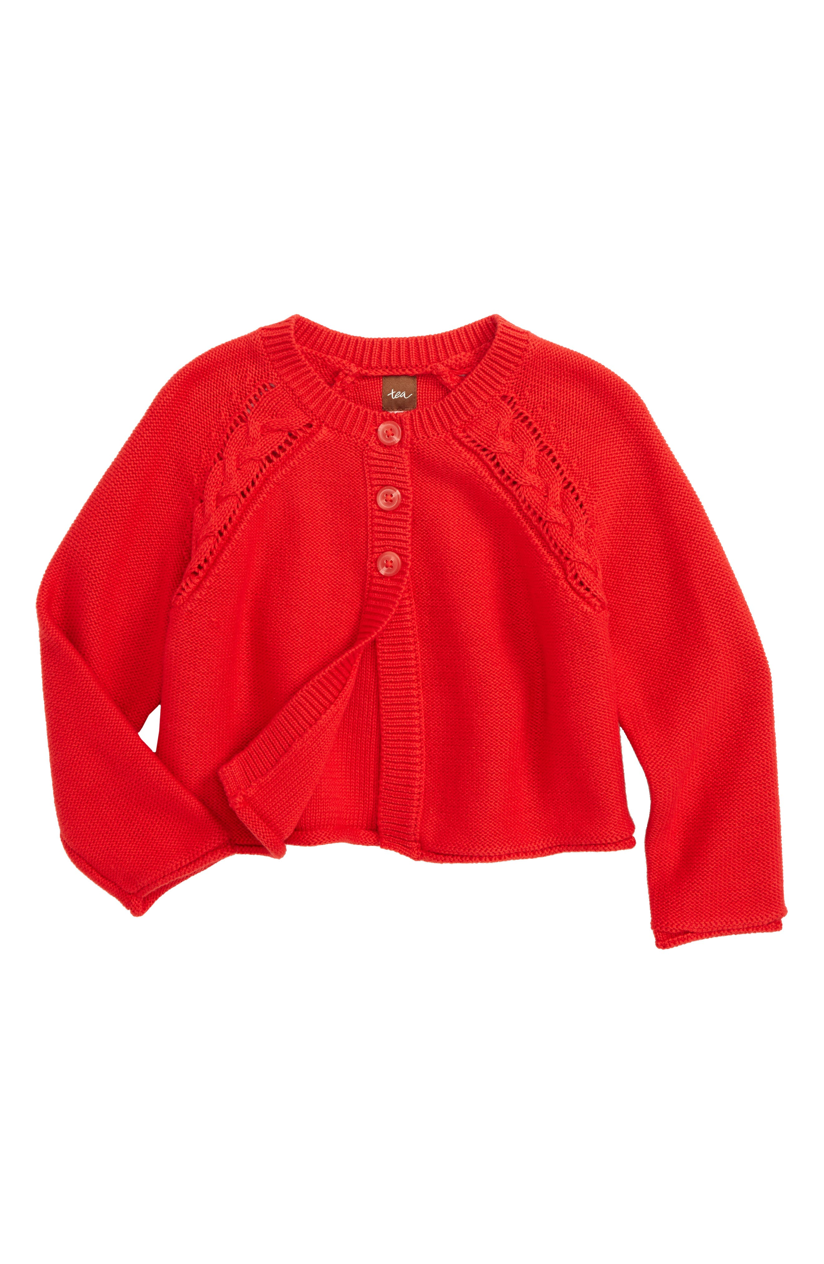 Agatha Cable Cardigan,                         Main,                         color, Red Lantern
