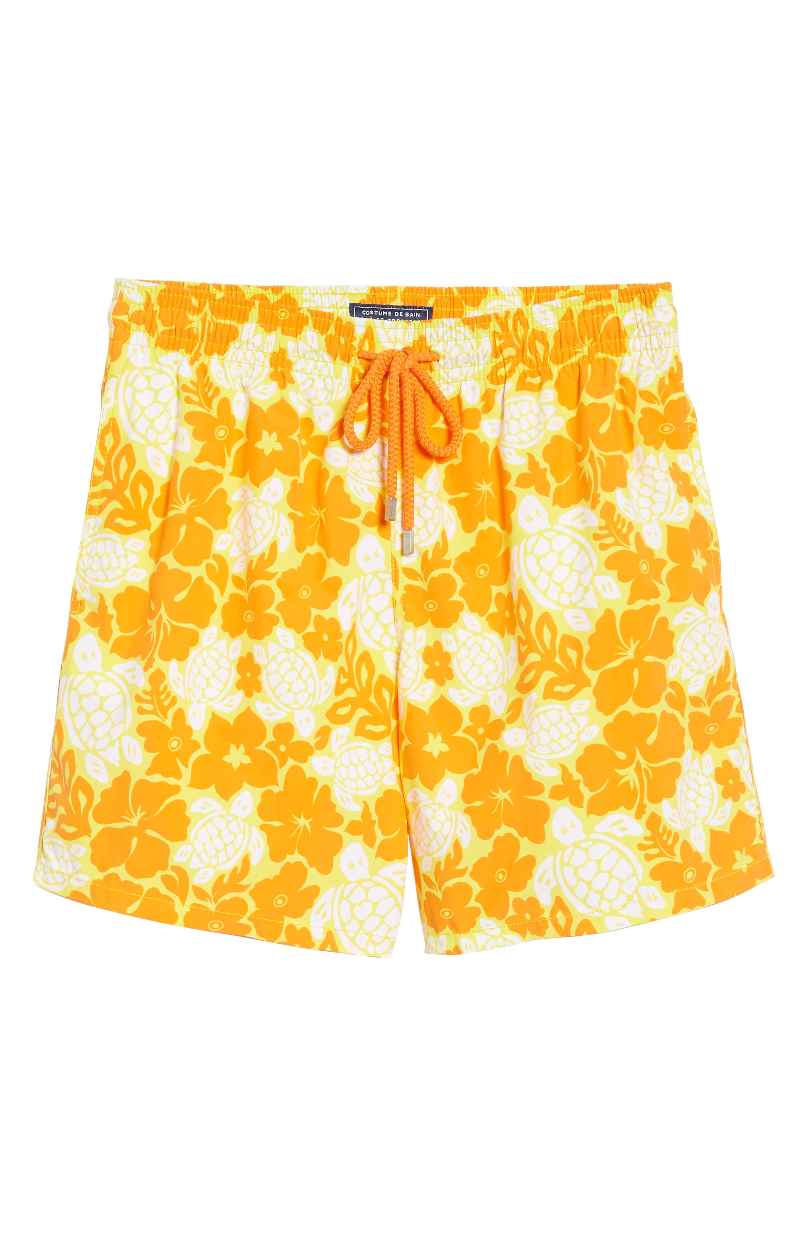 Moorea Hawaiian Turtles Swim Shorts,                             Alternate thumbnail 6, color,                             Lemon