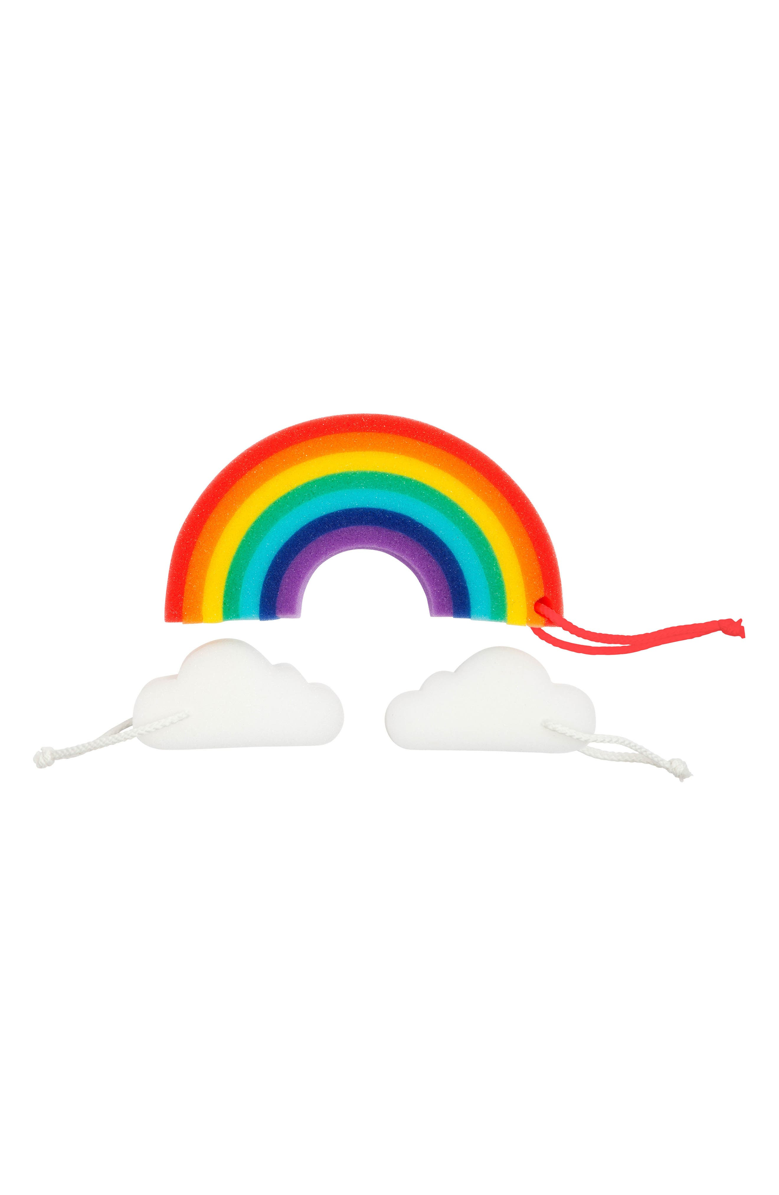 3-Pack Rainbow Bath Sponge Set,                             Main thumbnail 1, color,                             Multi
