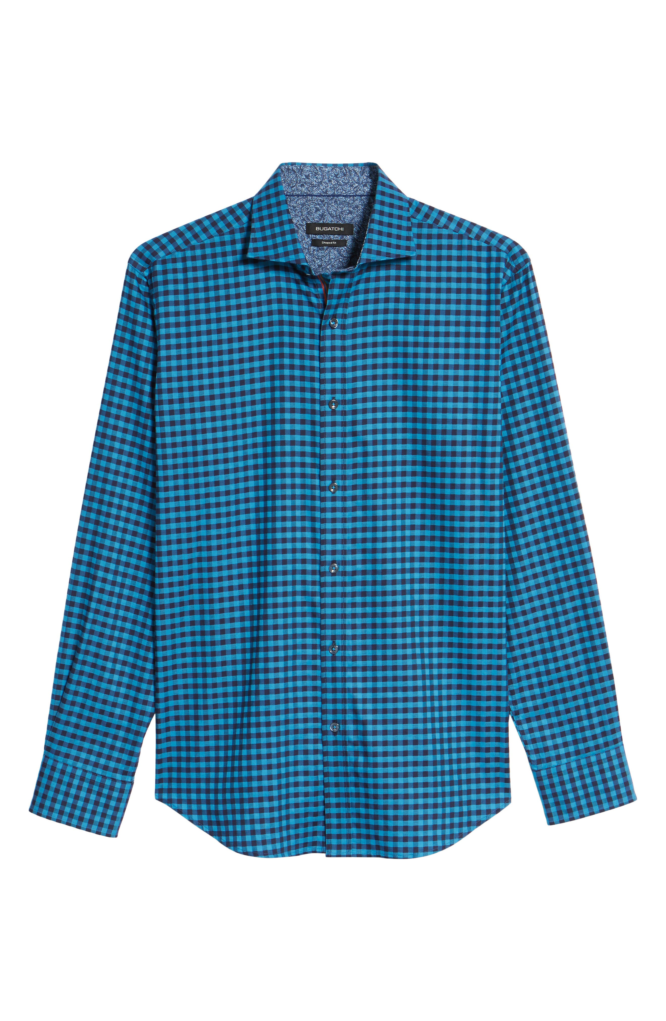 Shaped Fit Check Sport Shirt,                             Alternate thumbnail 6, color,                             Teal