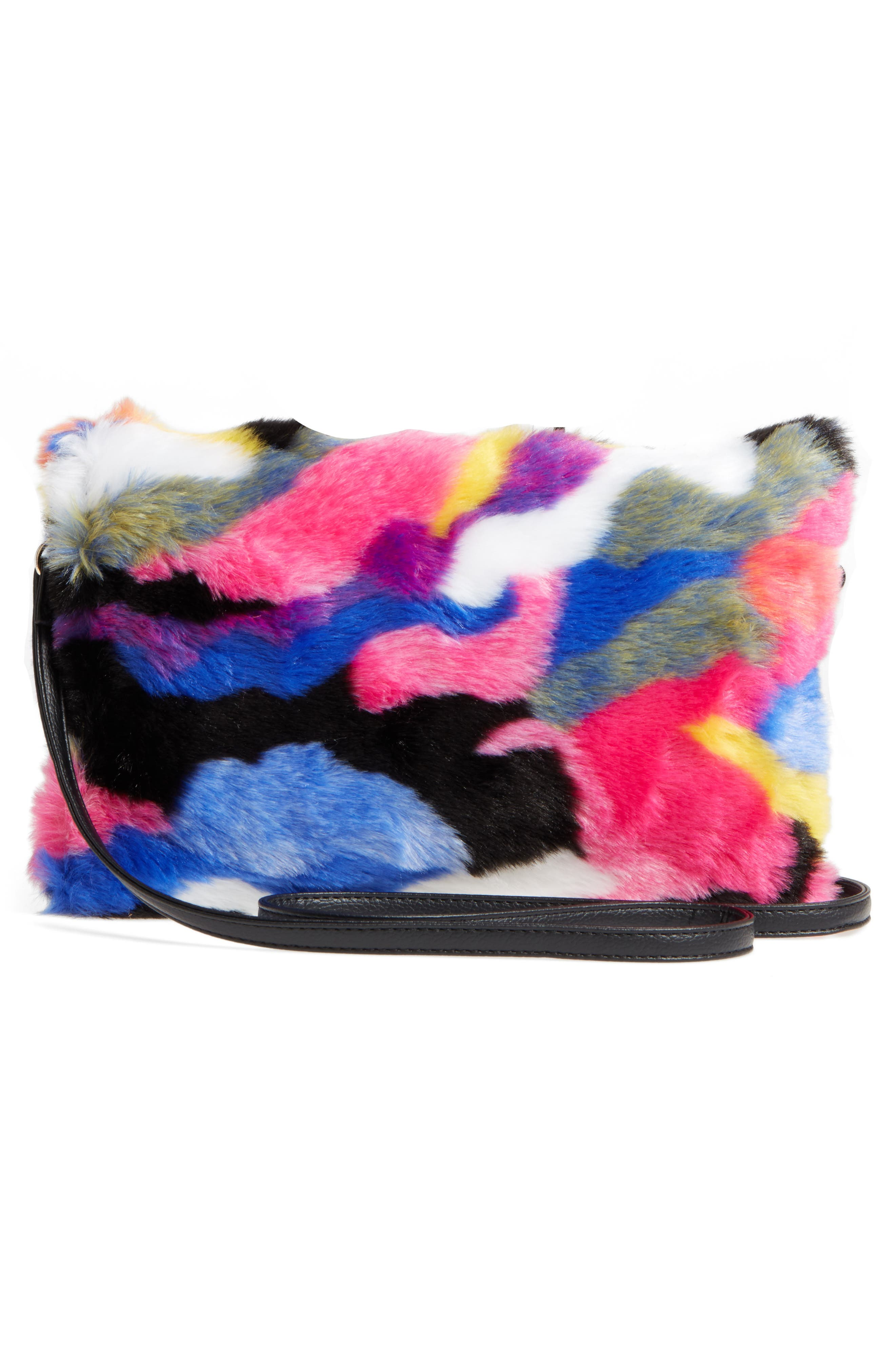 Faux Fur Foldover Clutch,                             Alternate thumbnail 2, color,                             Multi