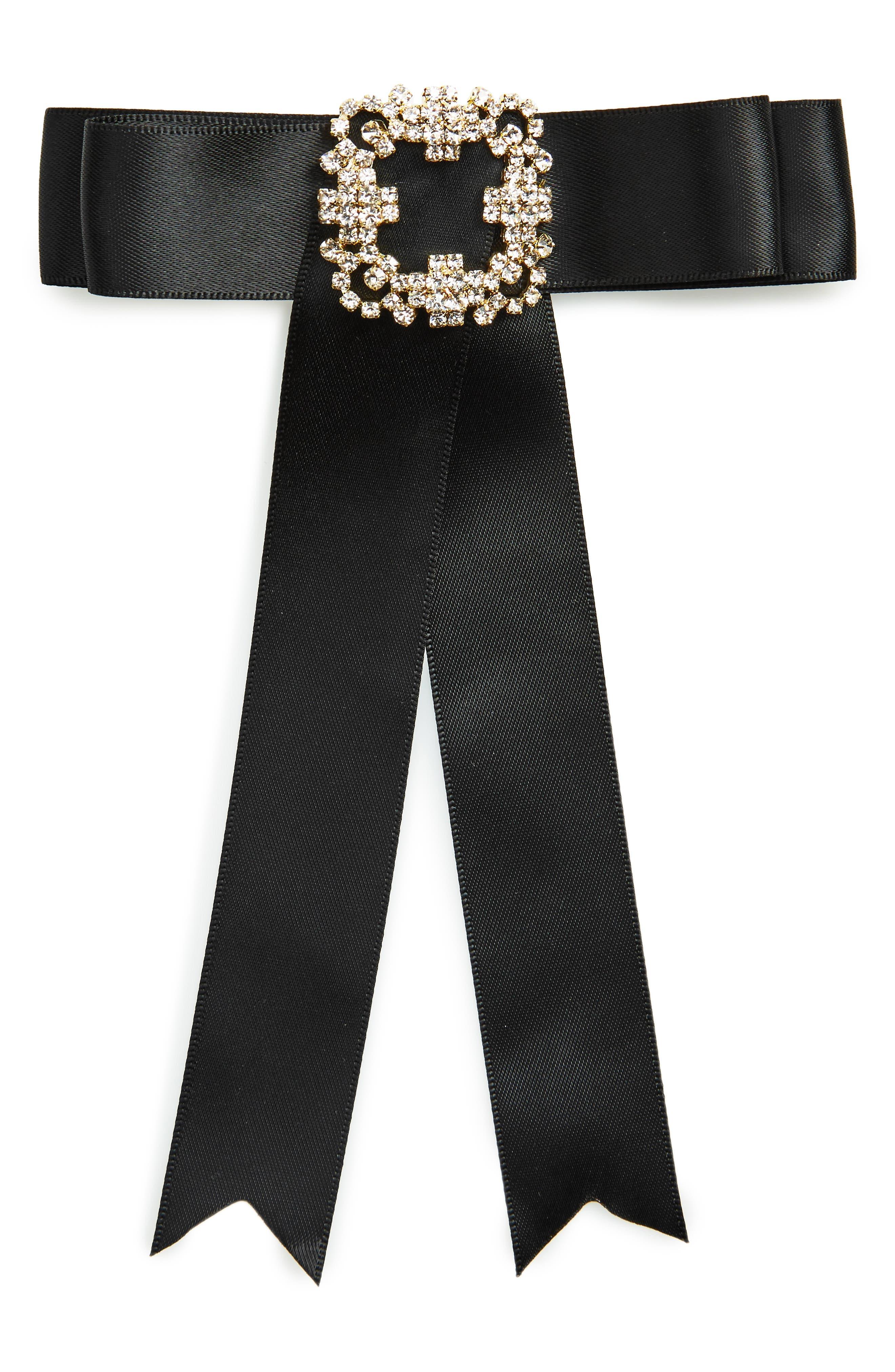 Cara Crystal Embellished Velvet Bow Pin