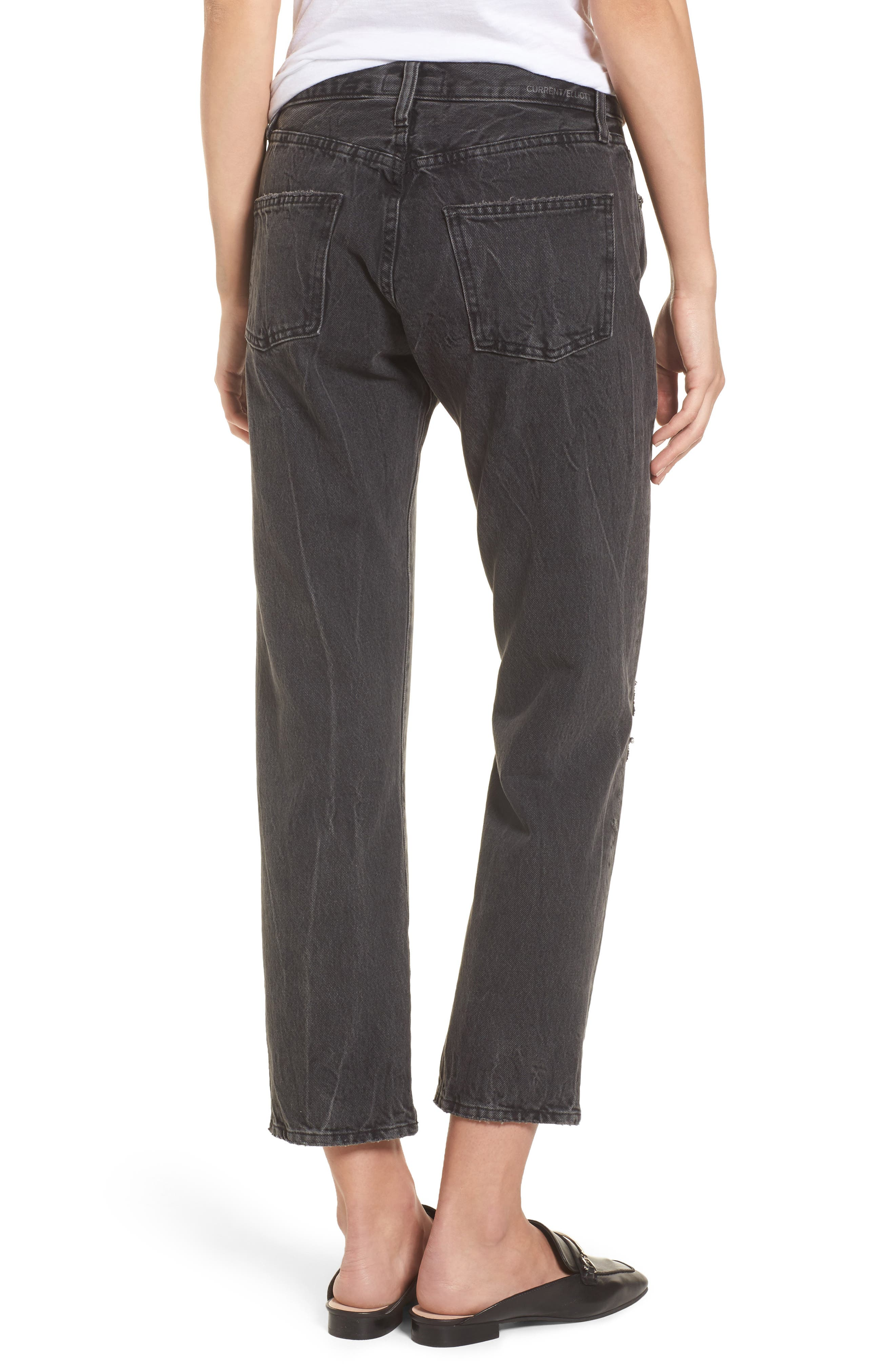 Alternate Image 2  - Current/Elliott The Original Straight Leg Crop Jeans (Valo Destroy)