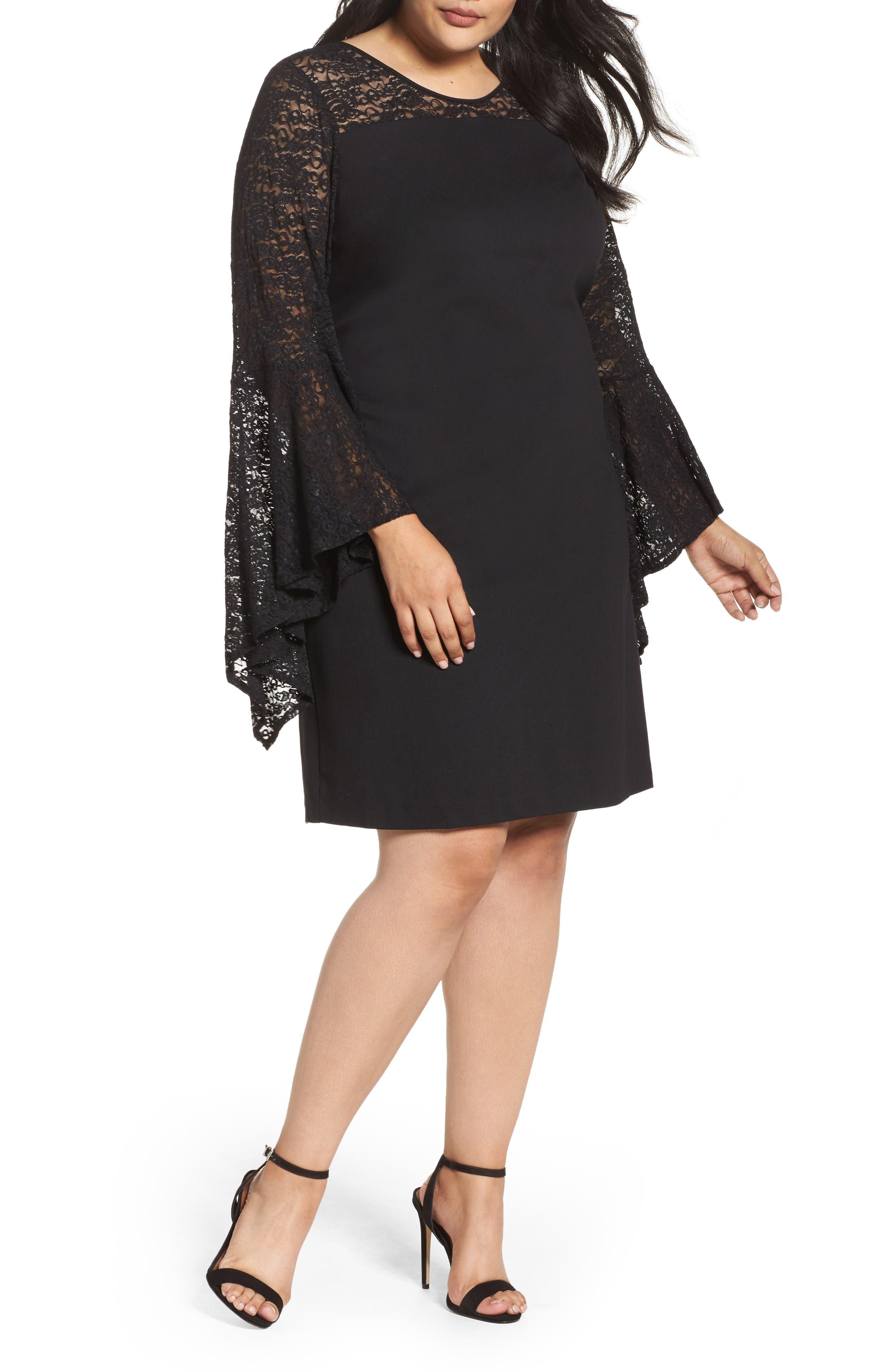 Bell Sleeve Shift Dress,                         Main,                         color, Rich Black