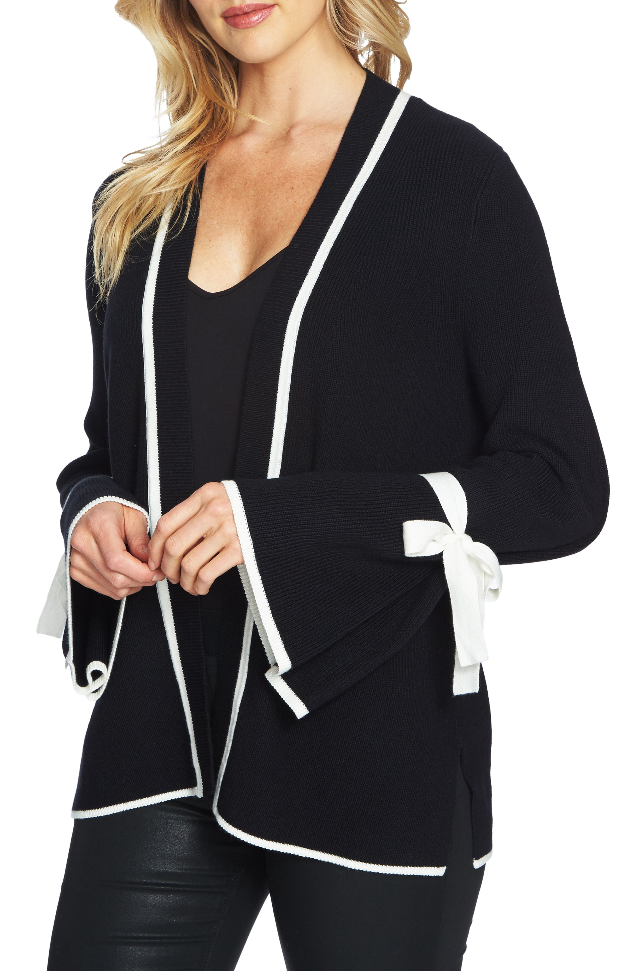 Tie Bell Sleeve Cardigan,                         Main,                         color, Rich Black