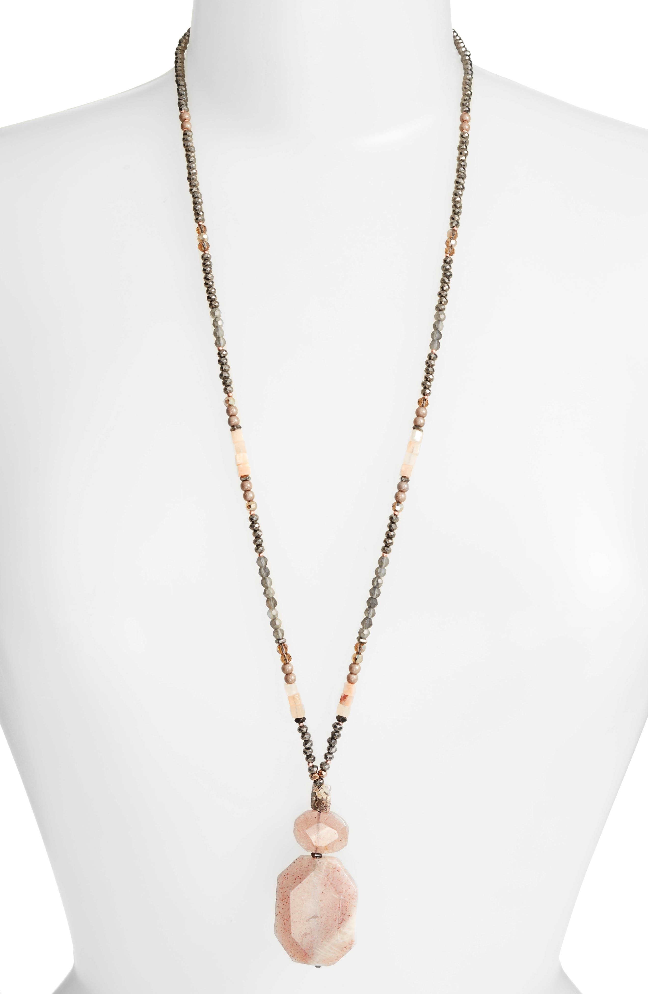 Nakamol Design Long Agate Pendant Necklace