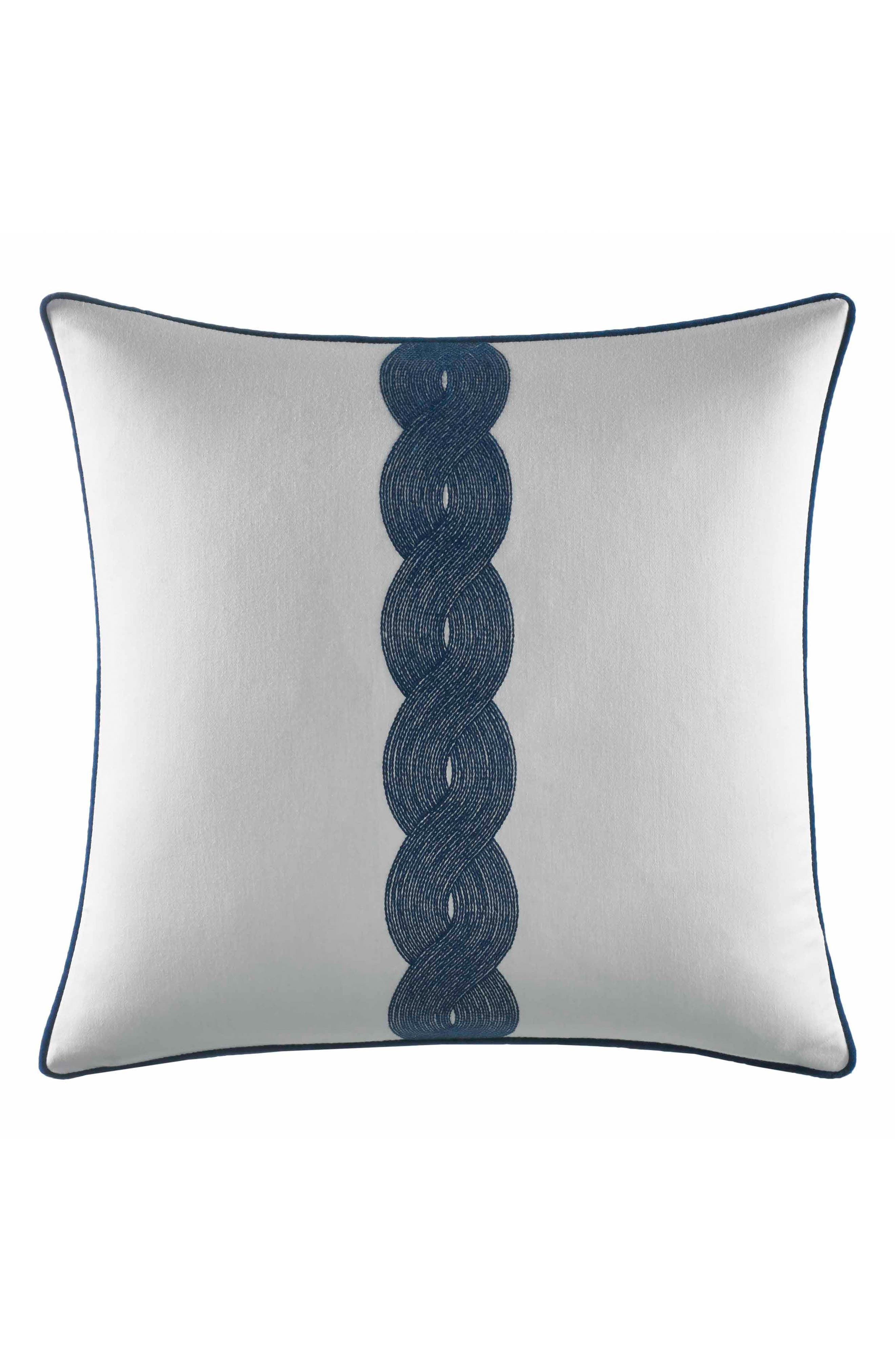 Cape Coral Rope Embroidered Pillow,                         Main,                         color, White