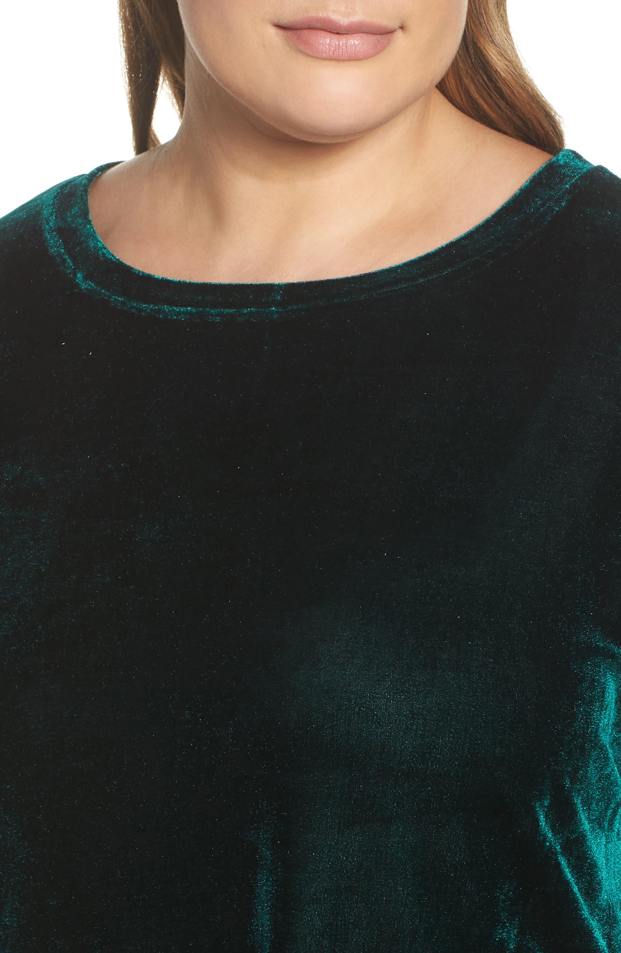 Velvet Shift Dress,                             Alternate thumbnail 4, color,                             Pine Green