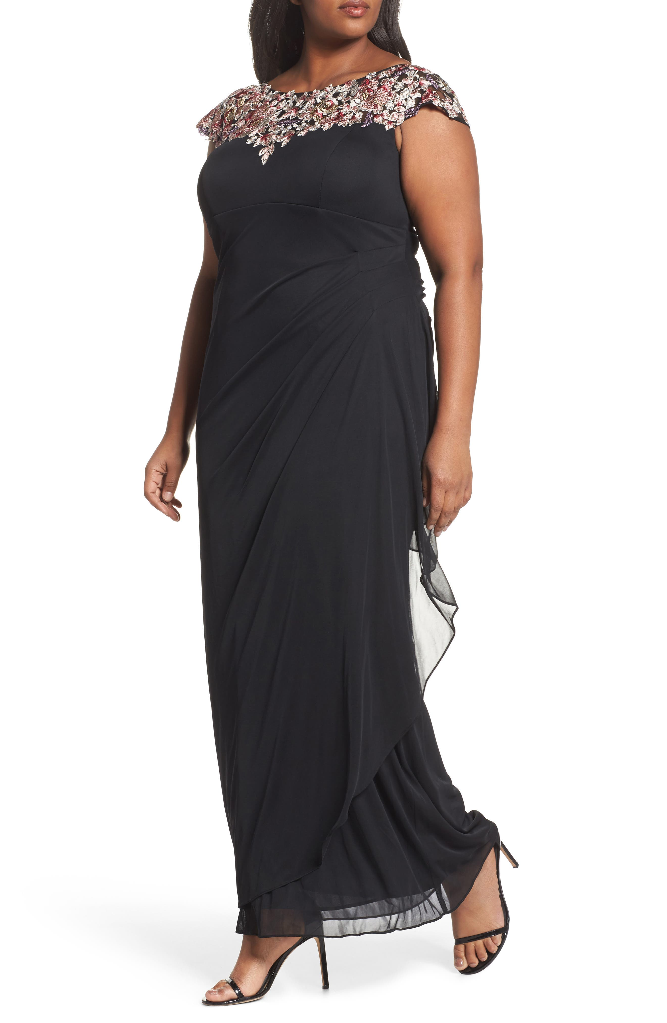 Main Image - Xscape Embroidered Side Ruched Dress (Plus Size)