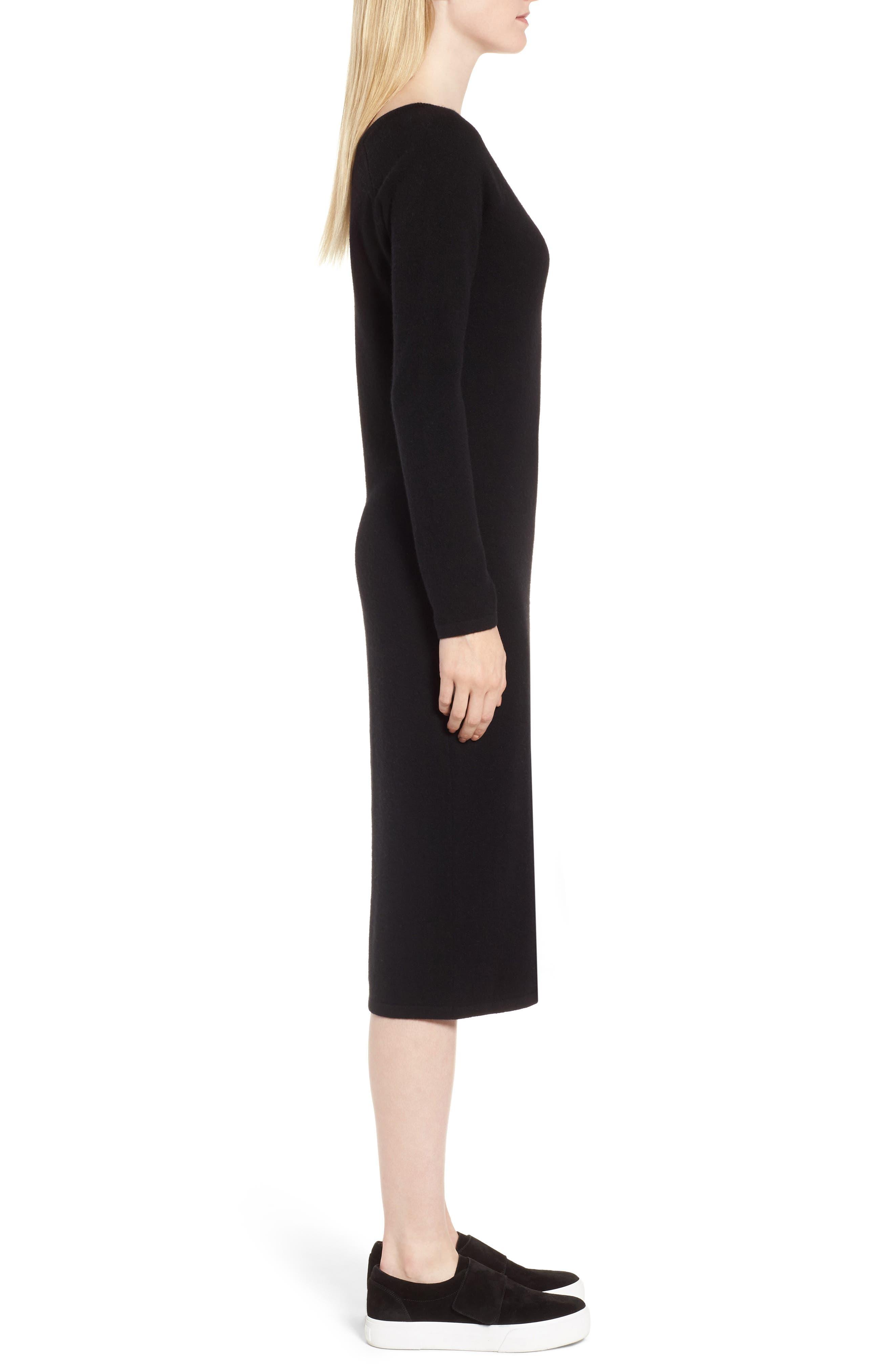 Cashmere Blend V-Neck Midi Dress,                             Alternate thumbnail 3, color,                             Black