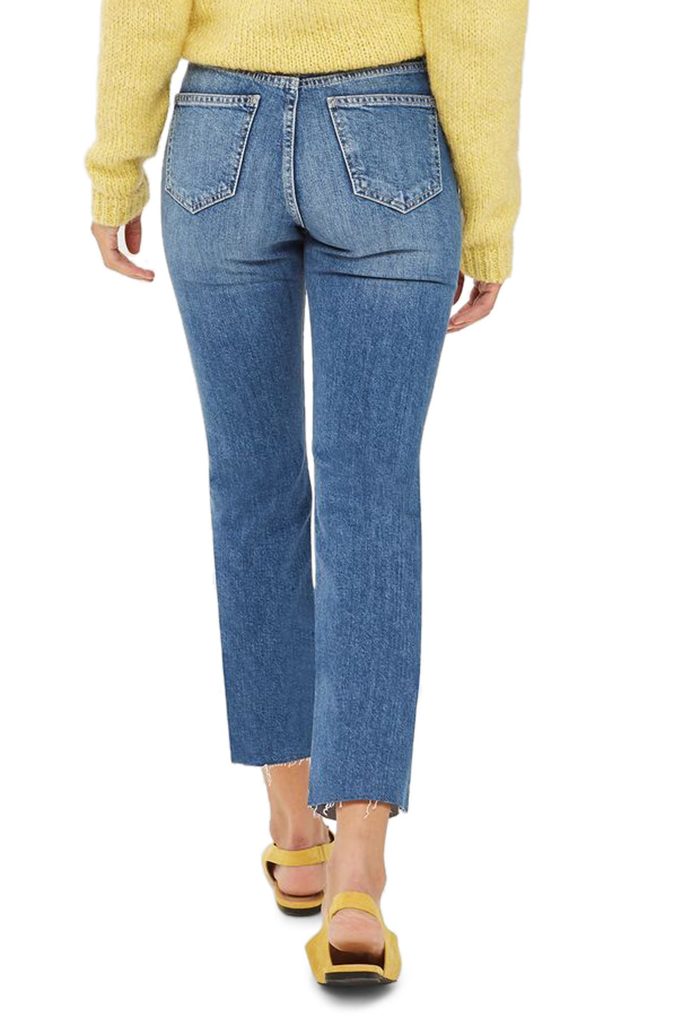 Dree Raw Hem Crop Jeans,                             Alternate thumbnail 2, color,                             Mid Stone