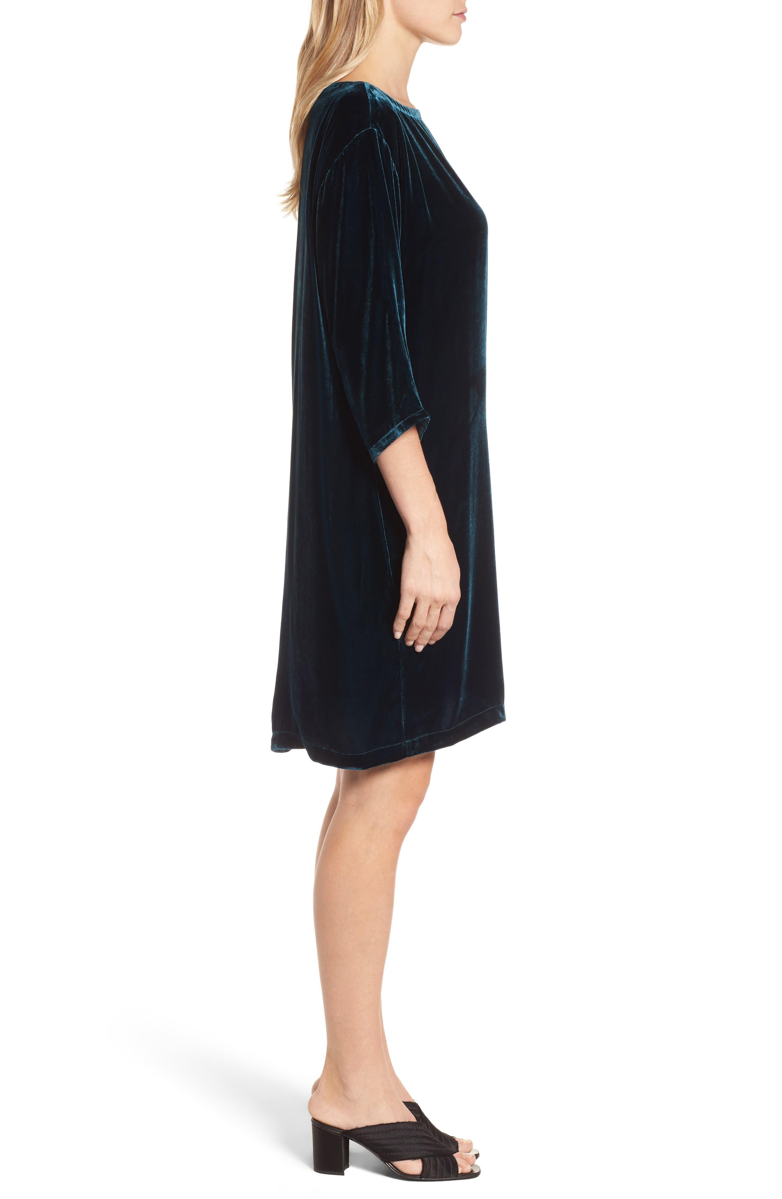 Velvet Shift Dress,                             Alternate thumbnail 3, color,                             Blue Spruce