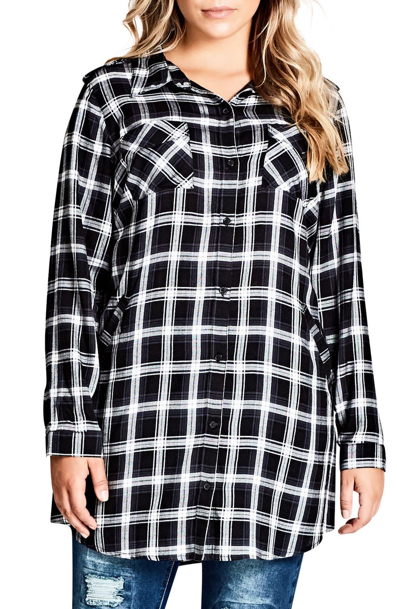 Record Love Longline Shirt,                         Main,                         color, Black Check