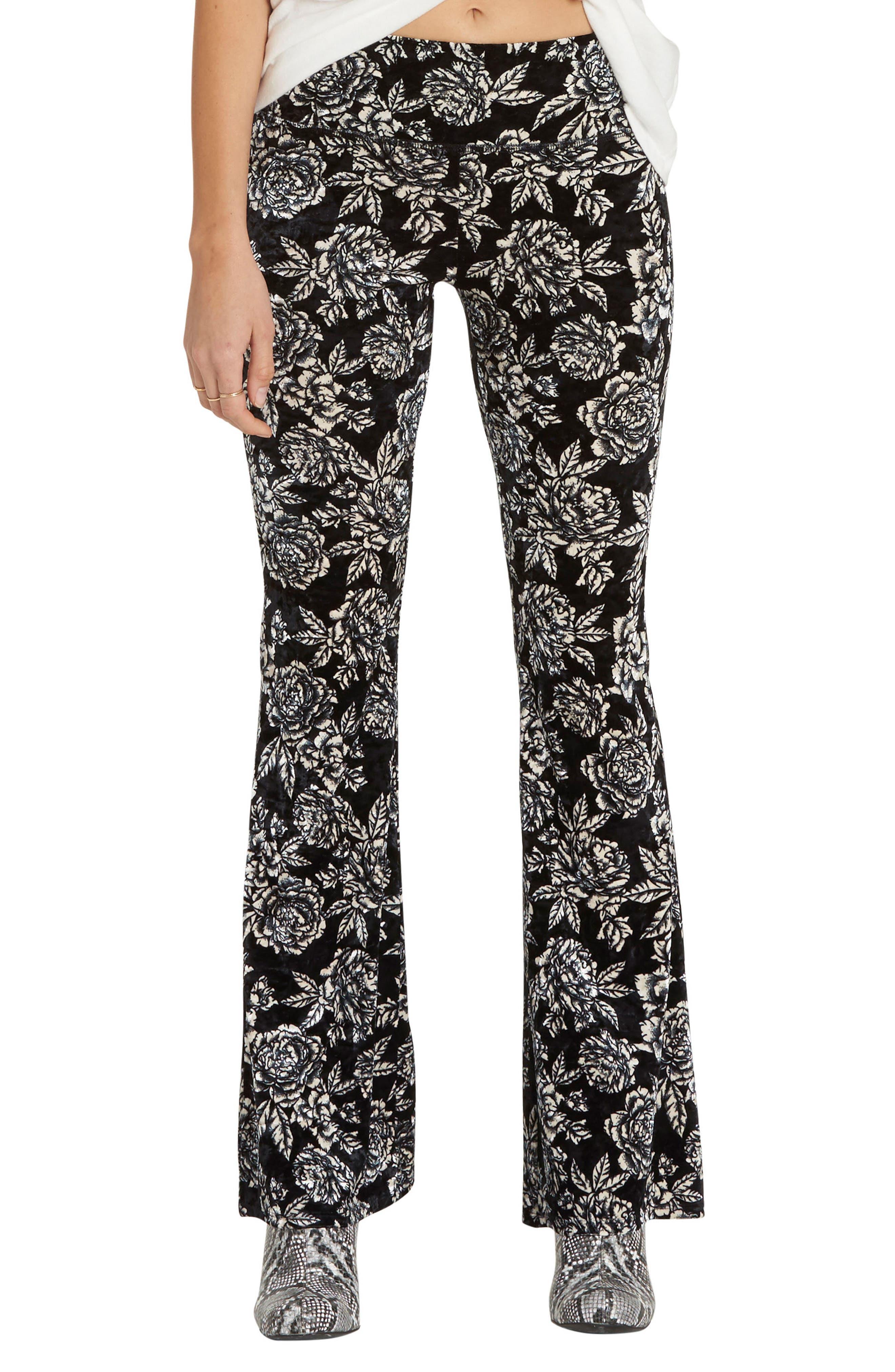 Billabong Turn Me Round Floral Print Velvet Flare Pants