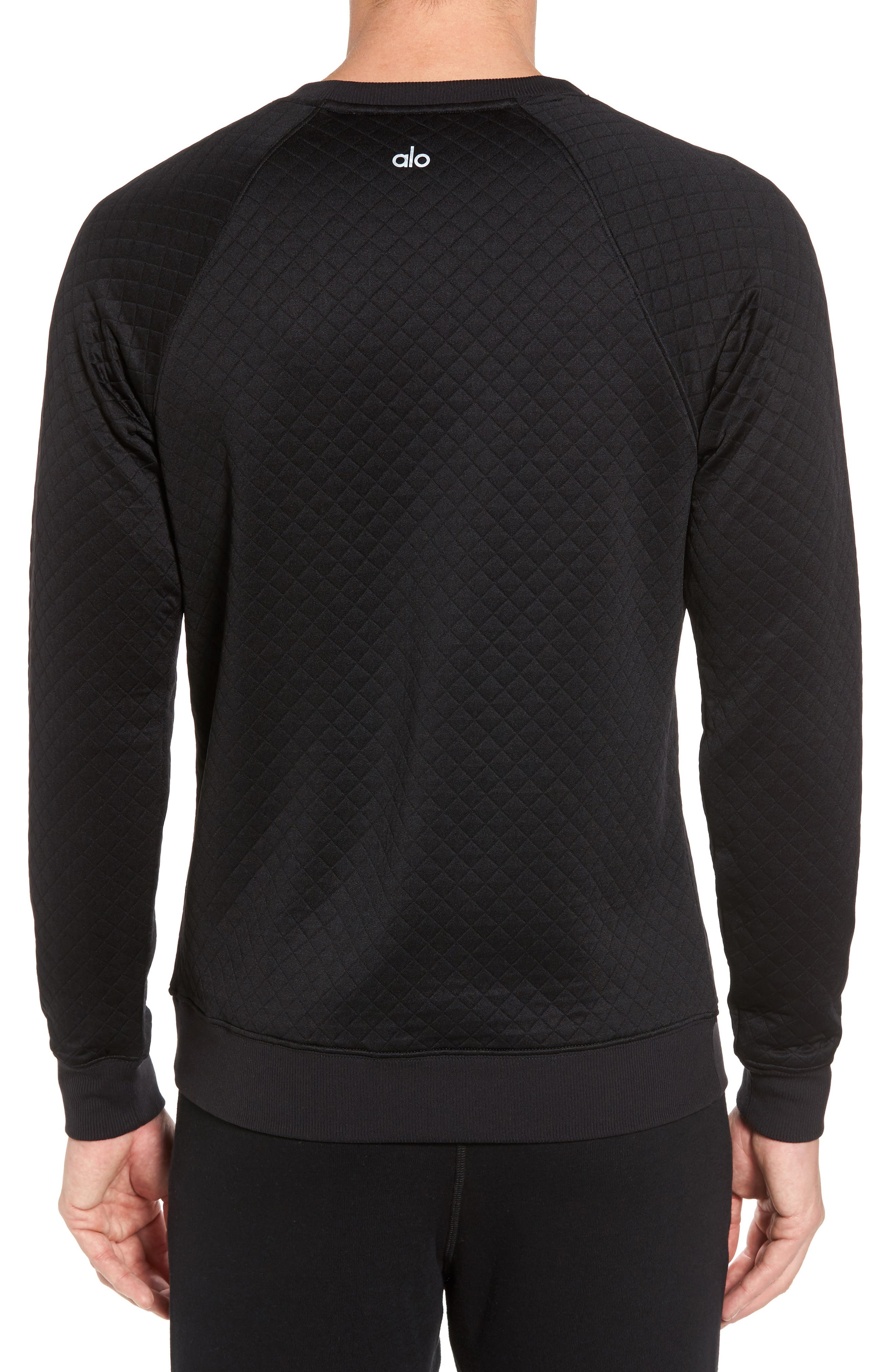 Yama Relaxed Slim Fit Quilted Sweatshirt,                             Alternate thumbnail 2, color,                             Black
