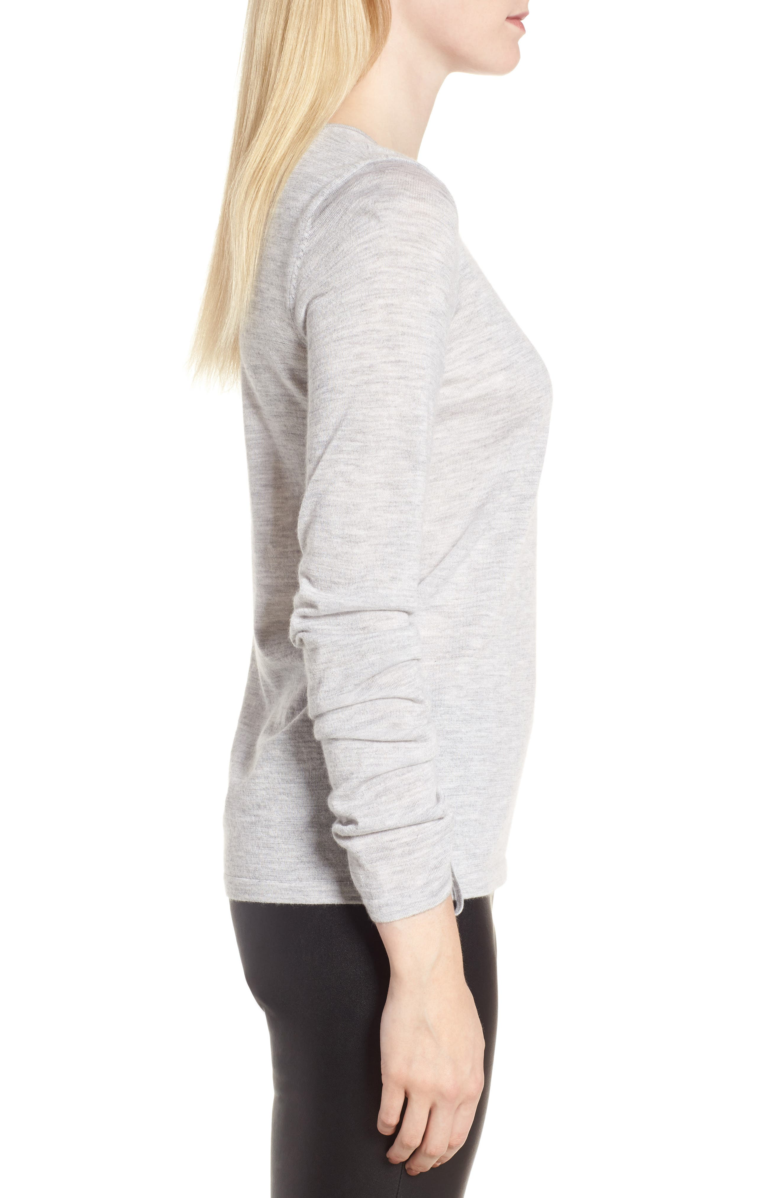 Cashmere Ruched Sleeve Pullover,                             Alternate thumbnail 3, color,                             Grey Clay Heather