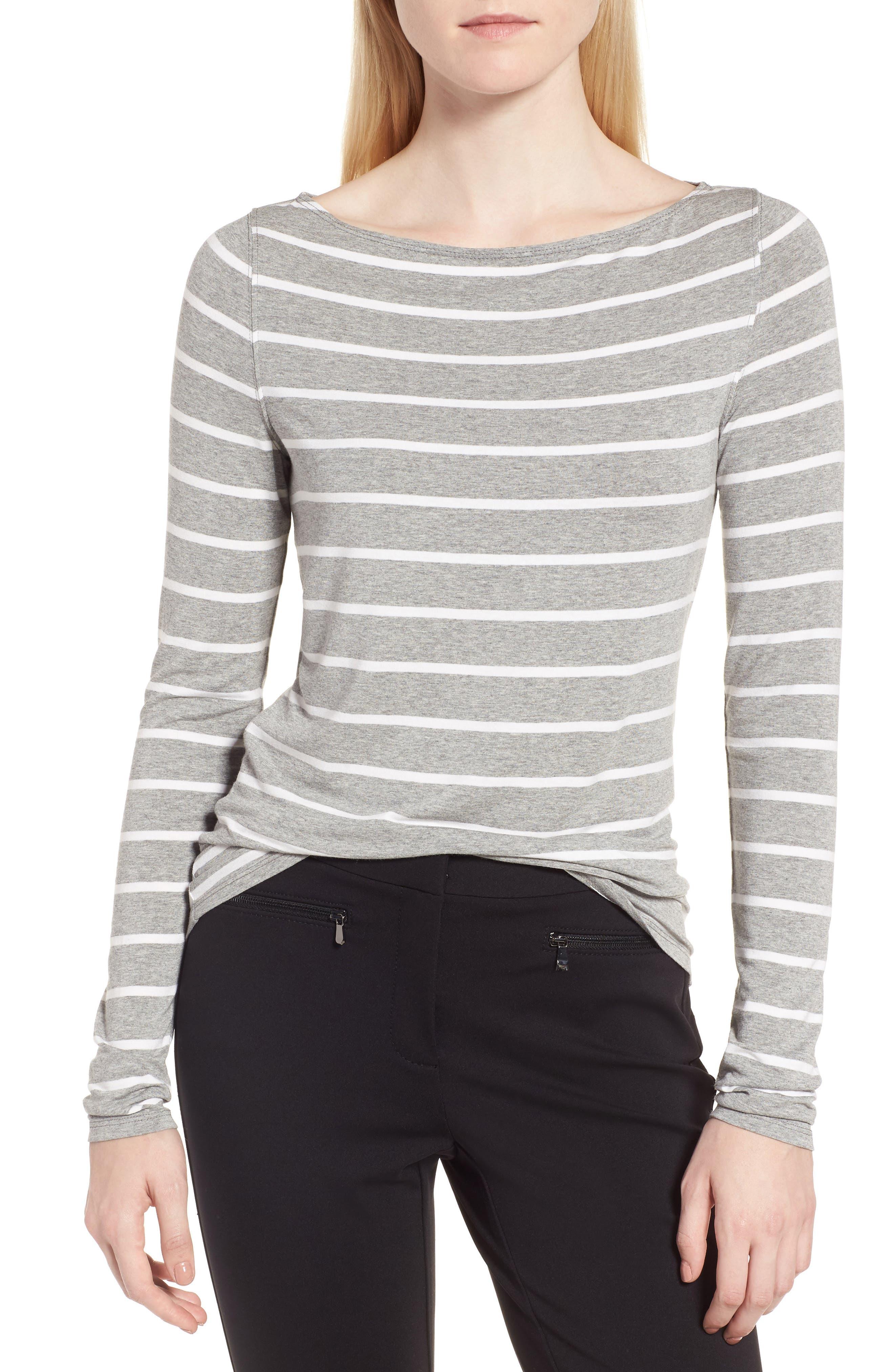 Long Sleeve Bateau Neck Tee,                         Main,                         color, Grey Heather- Ivory Stripe