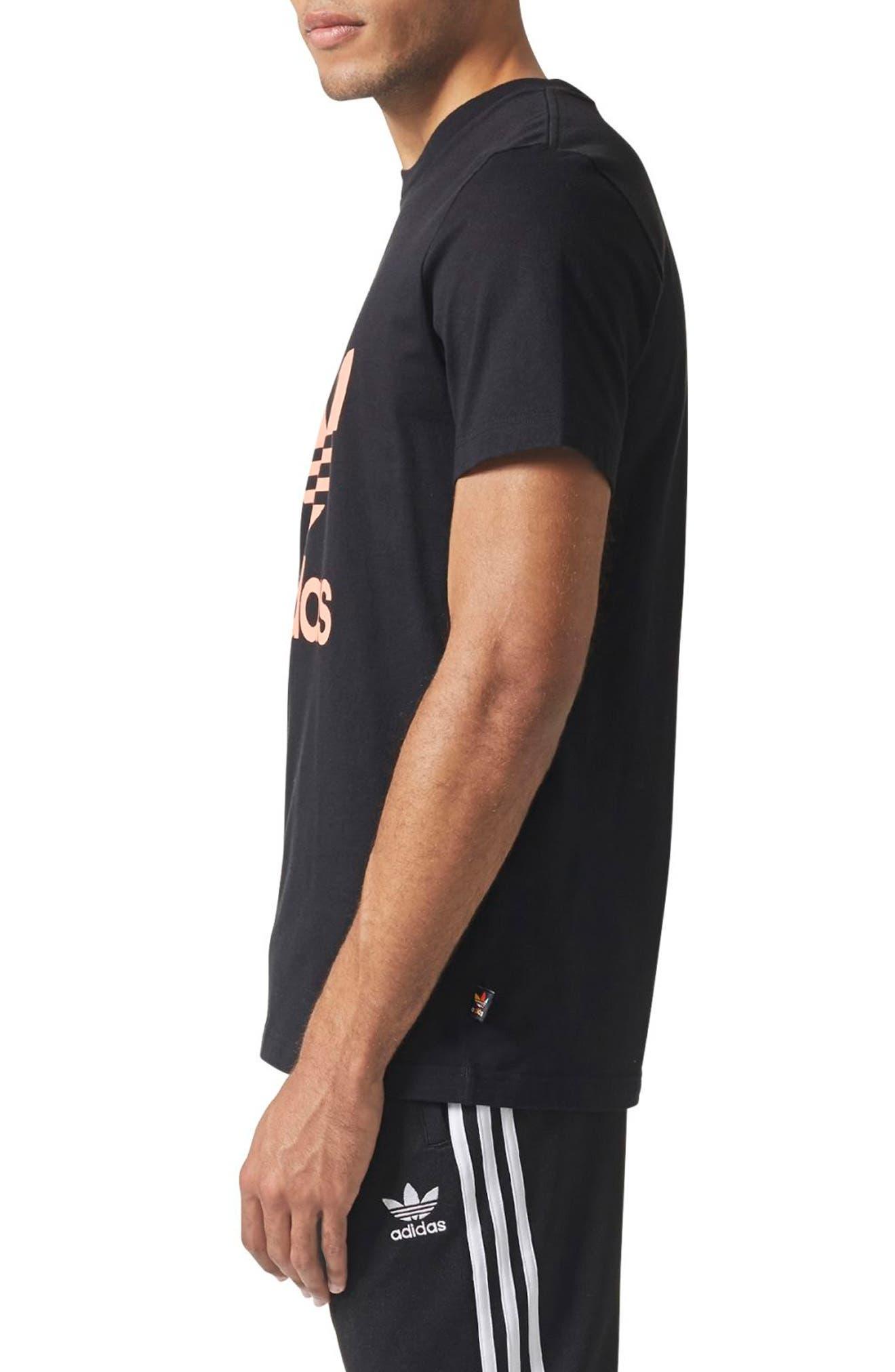 Pharrell Williams Hu Hiking T-Shirt,                             Alternate thumbnail 3, color,                             Black/ Chalk Coral