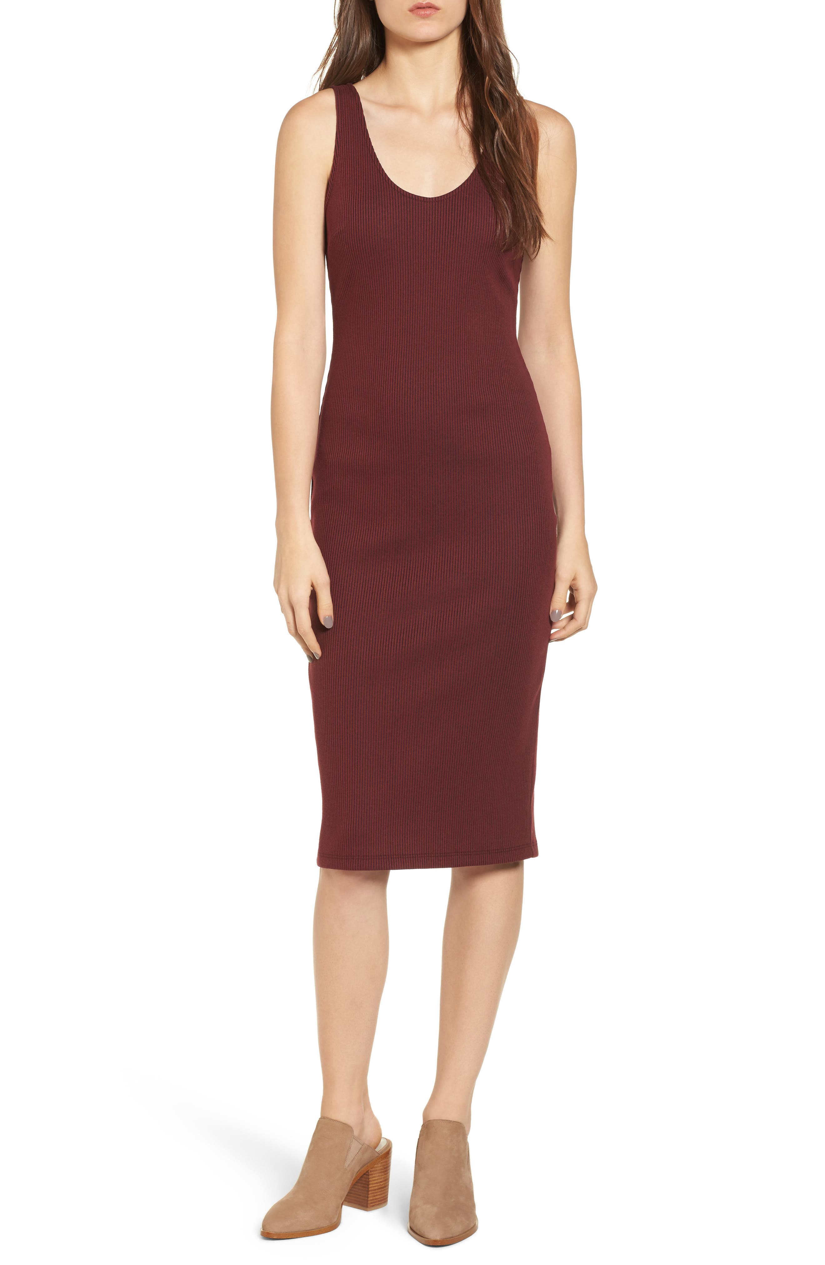 Ribbed Body-Con Midi Dress,                             Main thumbnail 1, color,                             Burgundy