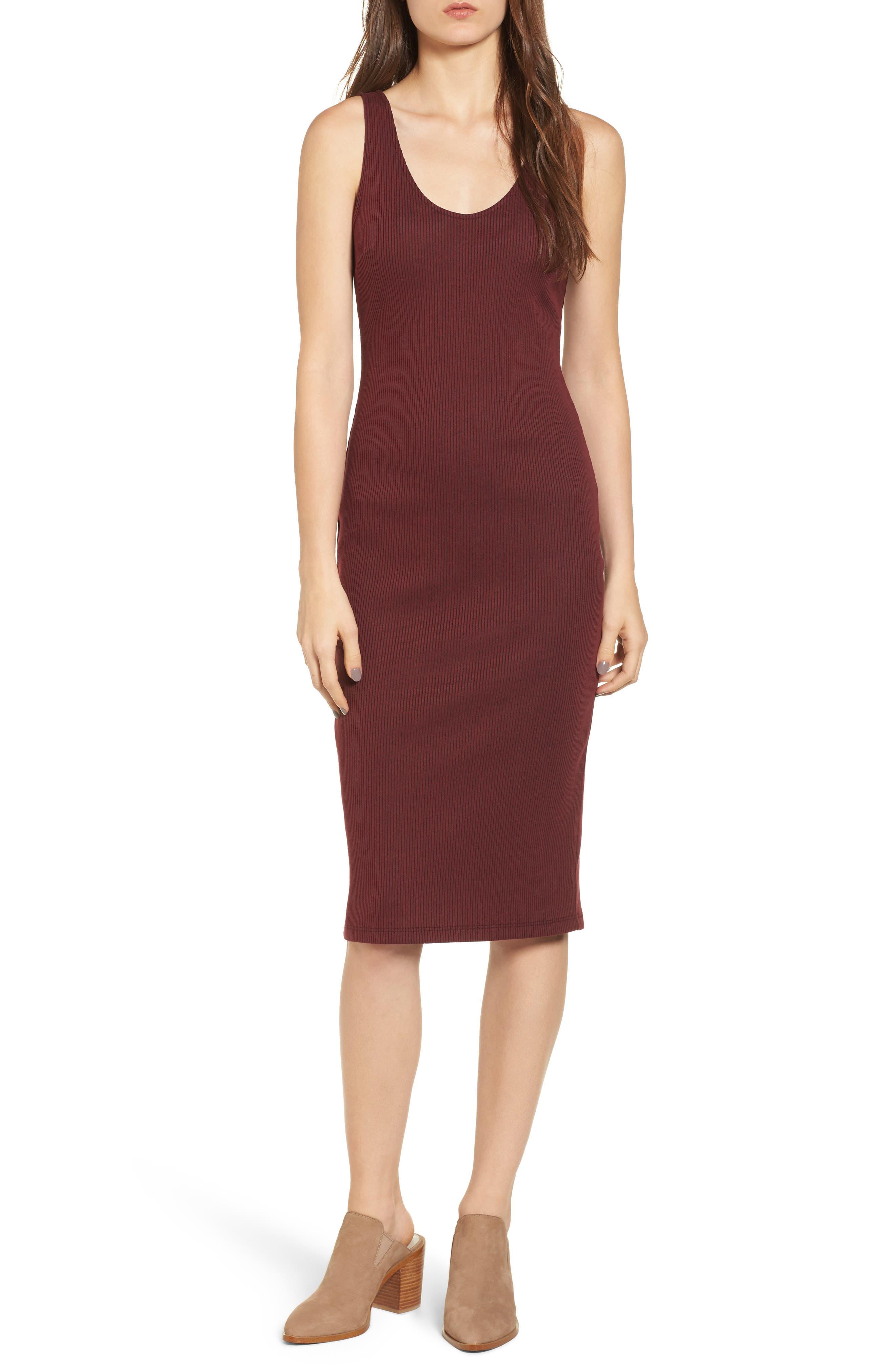 Ribbed Body-Con Midi Dress,                         Main,                         color, Burgundy