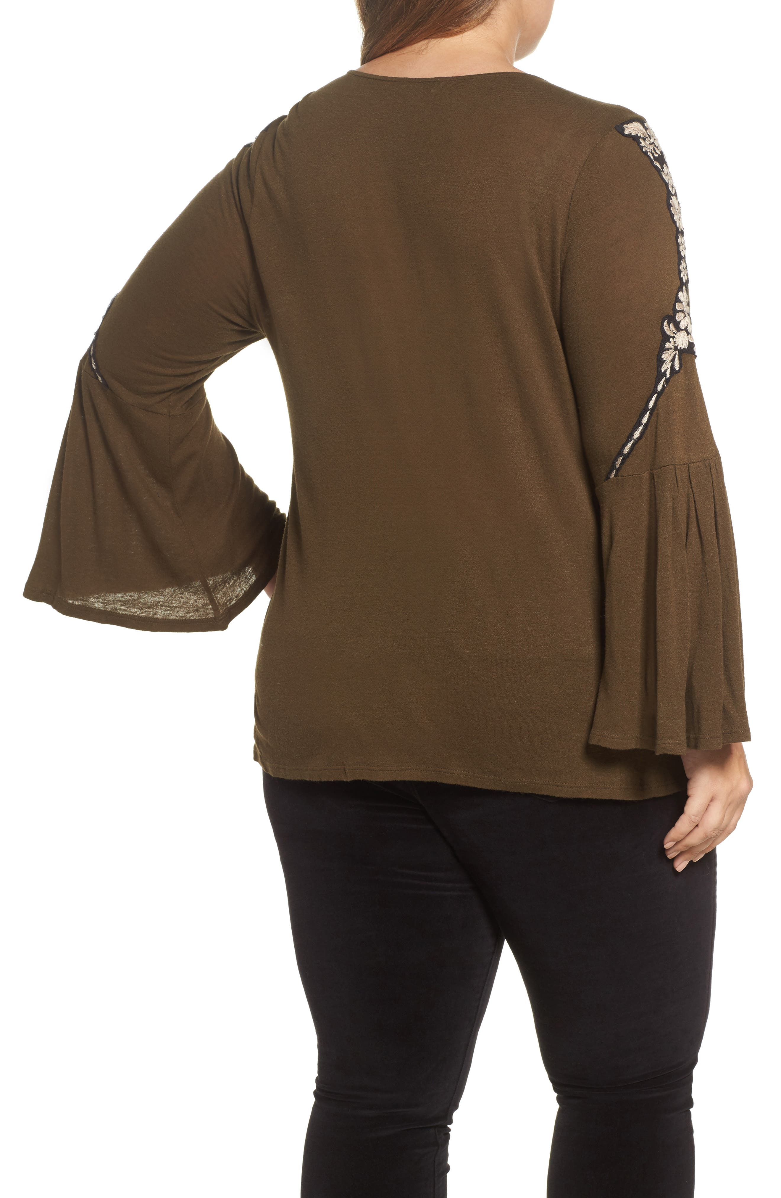 Embroidered Bell Sleeve Top,                             Alternate thumbnail 2, color,                             Olive