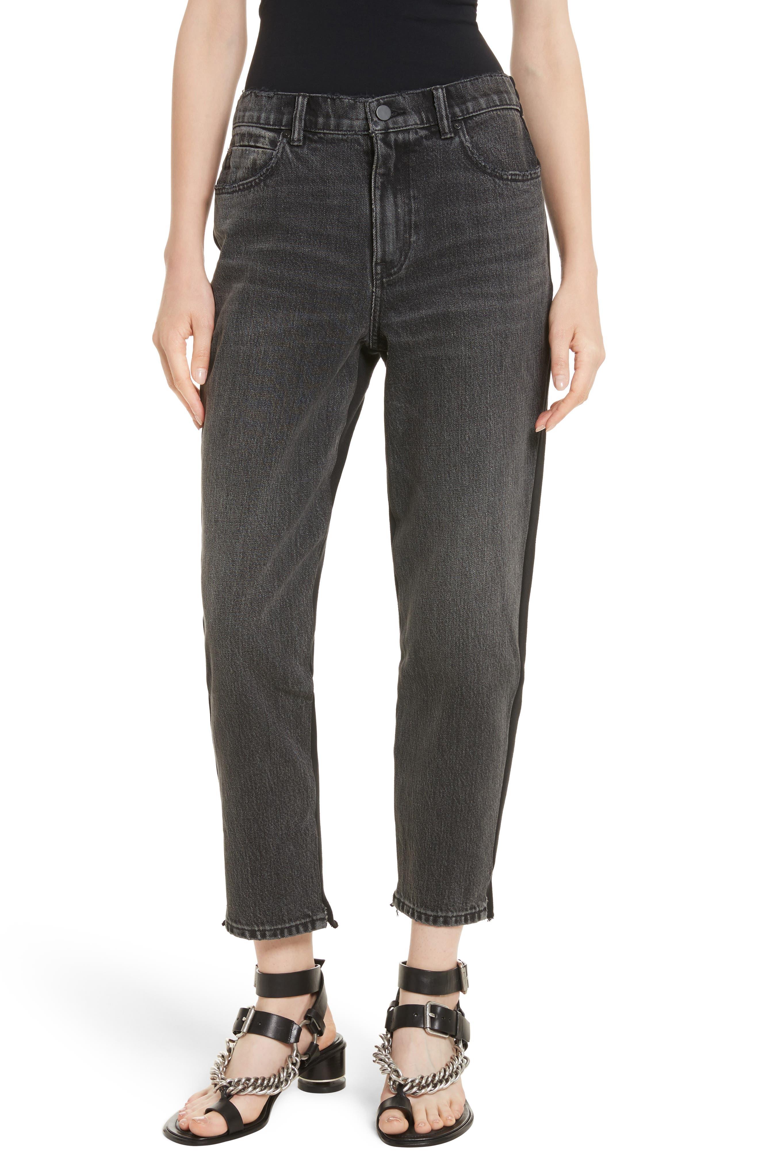 Denim x Alexander Wang Hybrid Sweatpants Jeans,                         Main,                         color, Grey Aged