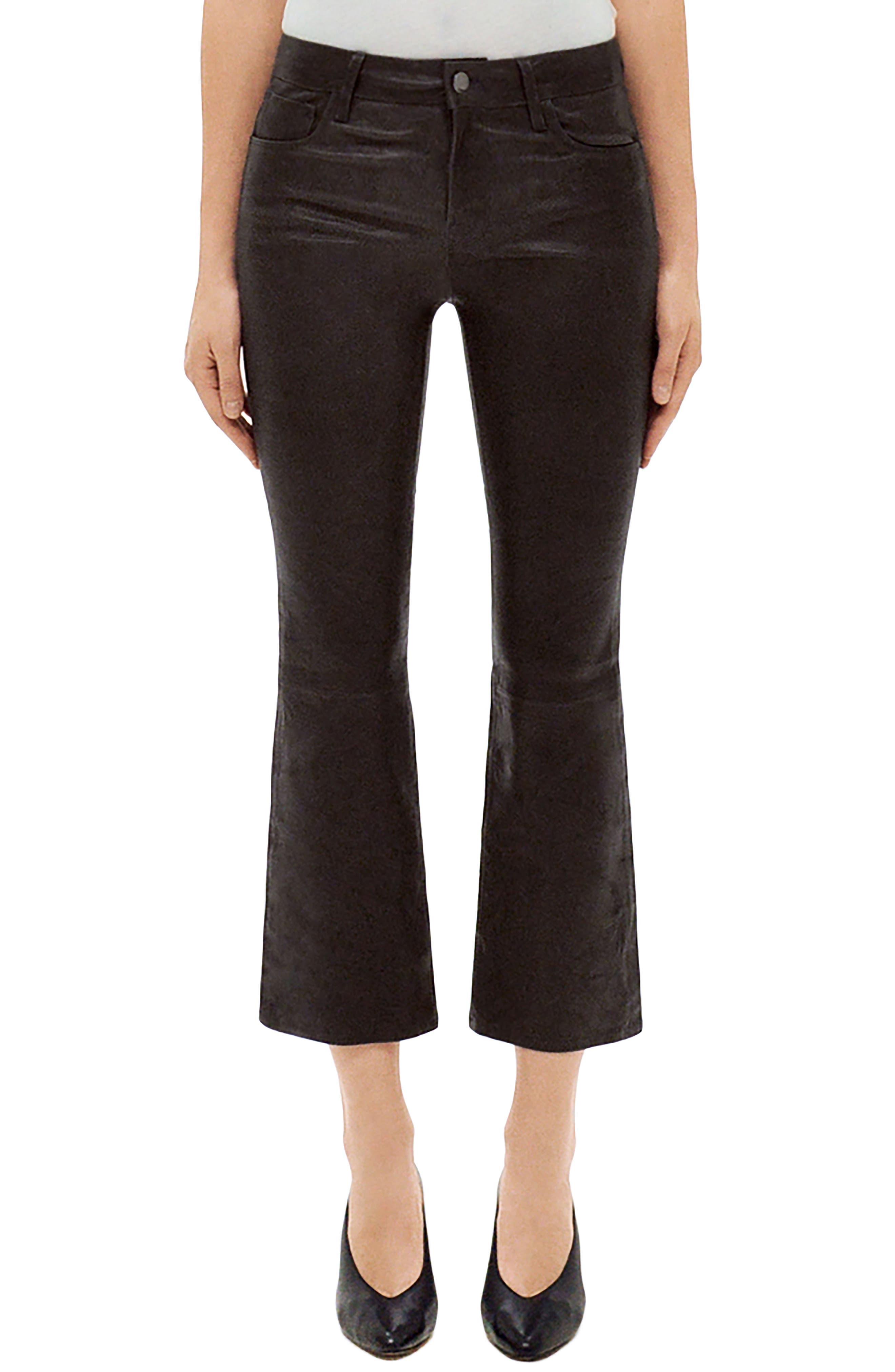 Selena Mid Rise Crop Bootcut Leather Jeans,                             Main thumbnail 1, color,                             Dark Platinum